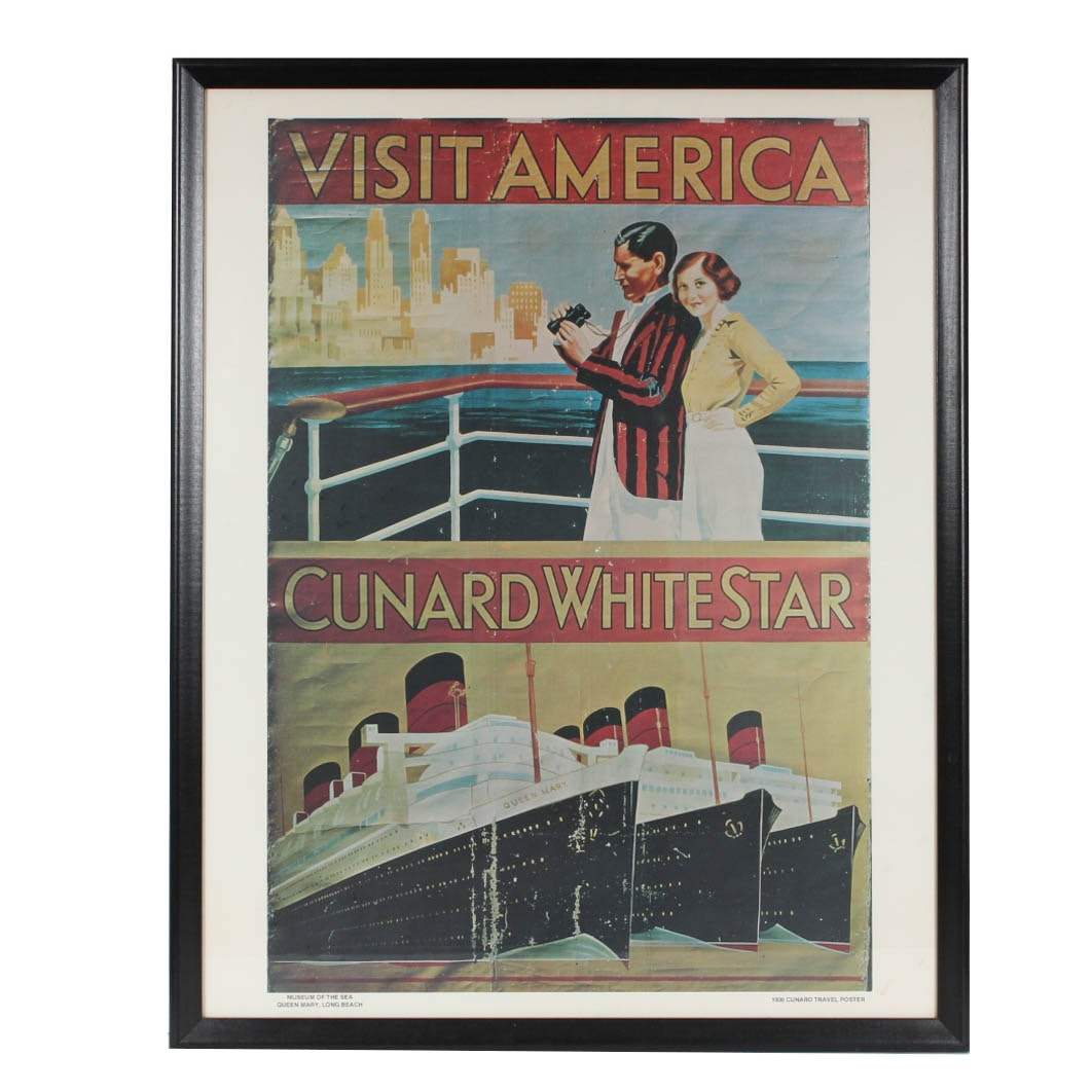 Vintage Reproduction Cunard White Star Tourism Poster Print