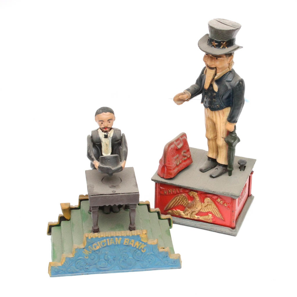 "Reproduction ""Uncle Sam"" and ""Magician"" Mechanical Banks"