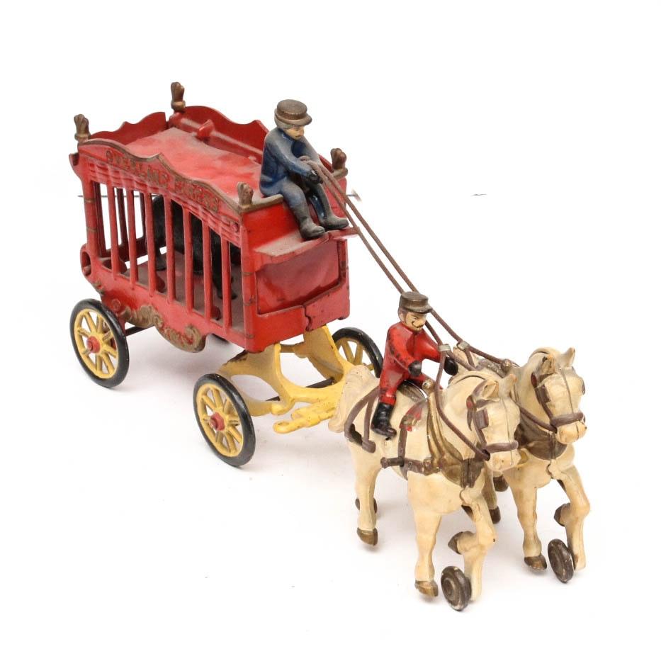 "Kenton ""Overland Circus"" Cast Iron Toy Bear Wagon"