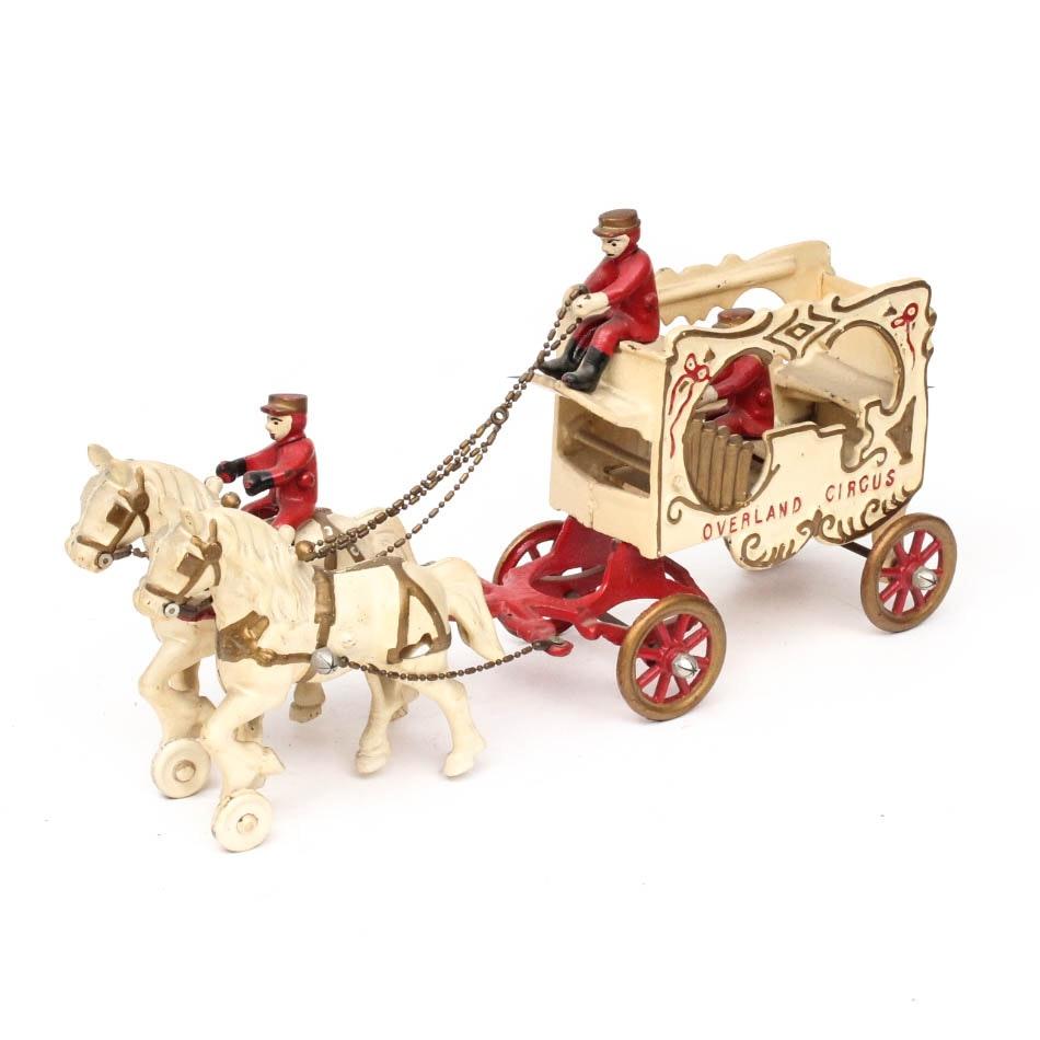 Kenton Toys Cast Iron Horse Drawn Pipe Organ