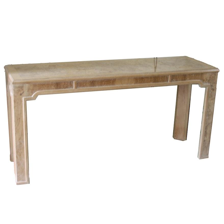 Corinthian Ash Burl Wood Console Table By Drexel Heritage