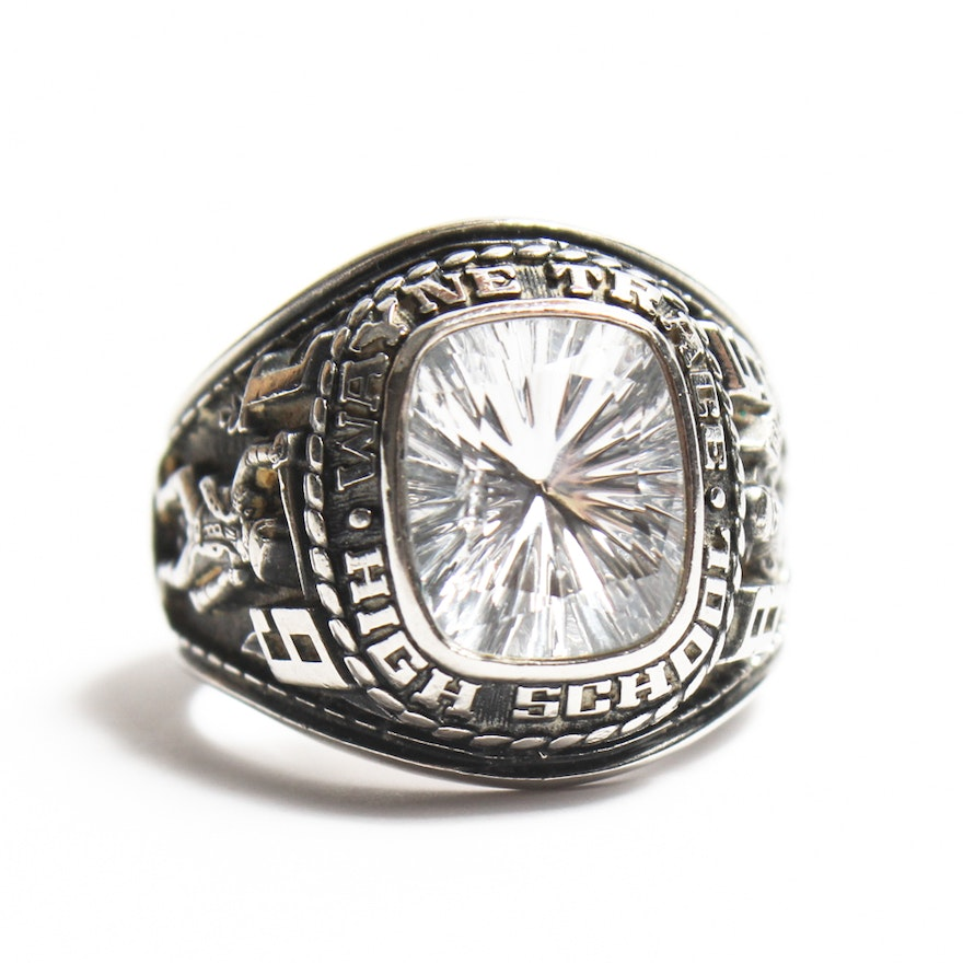 9cacb491f23a8 Jostens White Lustrium and Synthetic Spinel High School Class Ring
