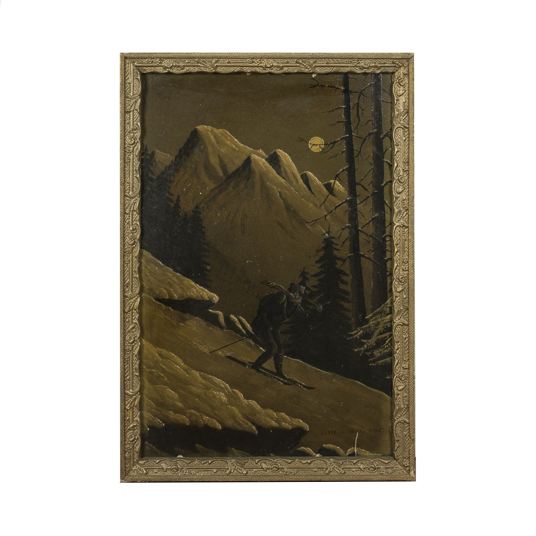 """Framed Oil on Board """"Carrying the Mail in 1867"""""""