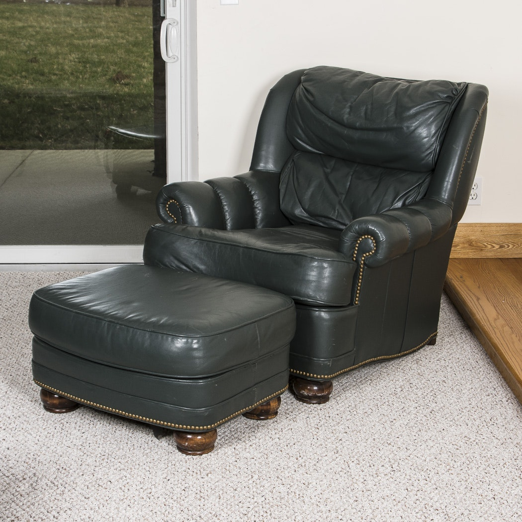 Executive Leather Armchair and Matching Ottoman