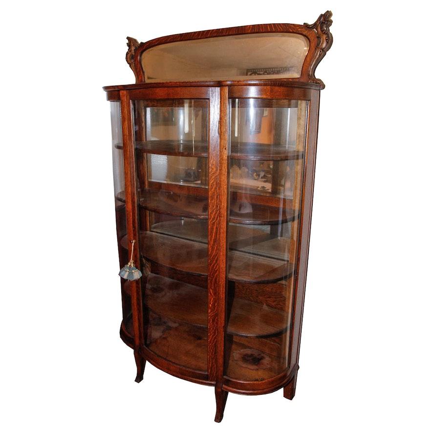 Antique Bow Front Curio Cabinet ... - Antique Bow Front Curio Cabinet : EBTH