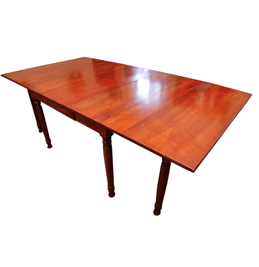 Antique cherry drop leaf dining table ebth for Antique drop leaf dining table