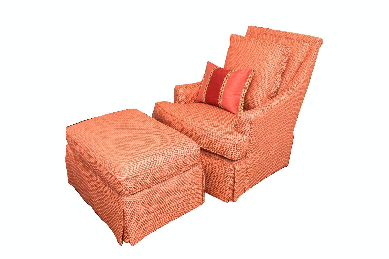 High-Back Armchair and Ottoman