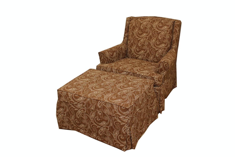 Armchair and Ottoman With Custom Slipcovers