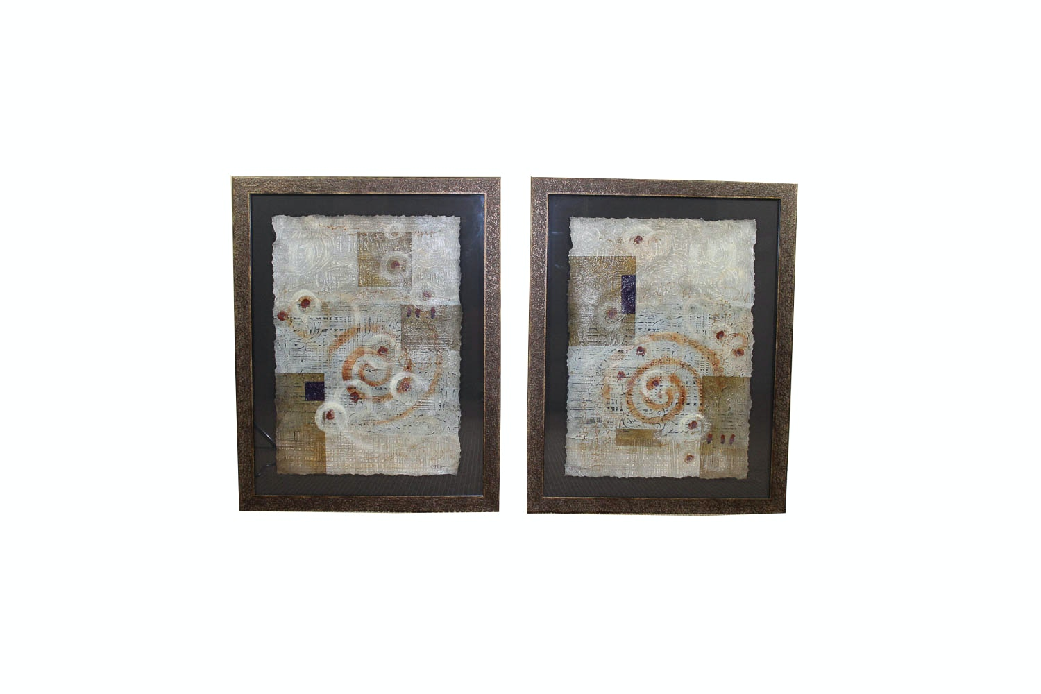Pairing of Raya Embossed Mixed Media Abstracts