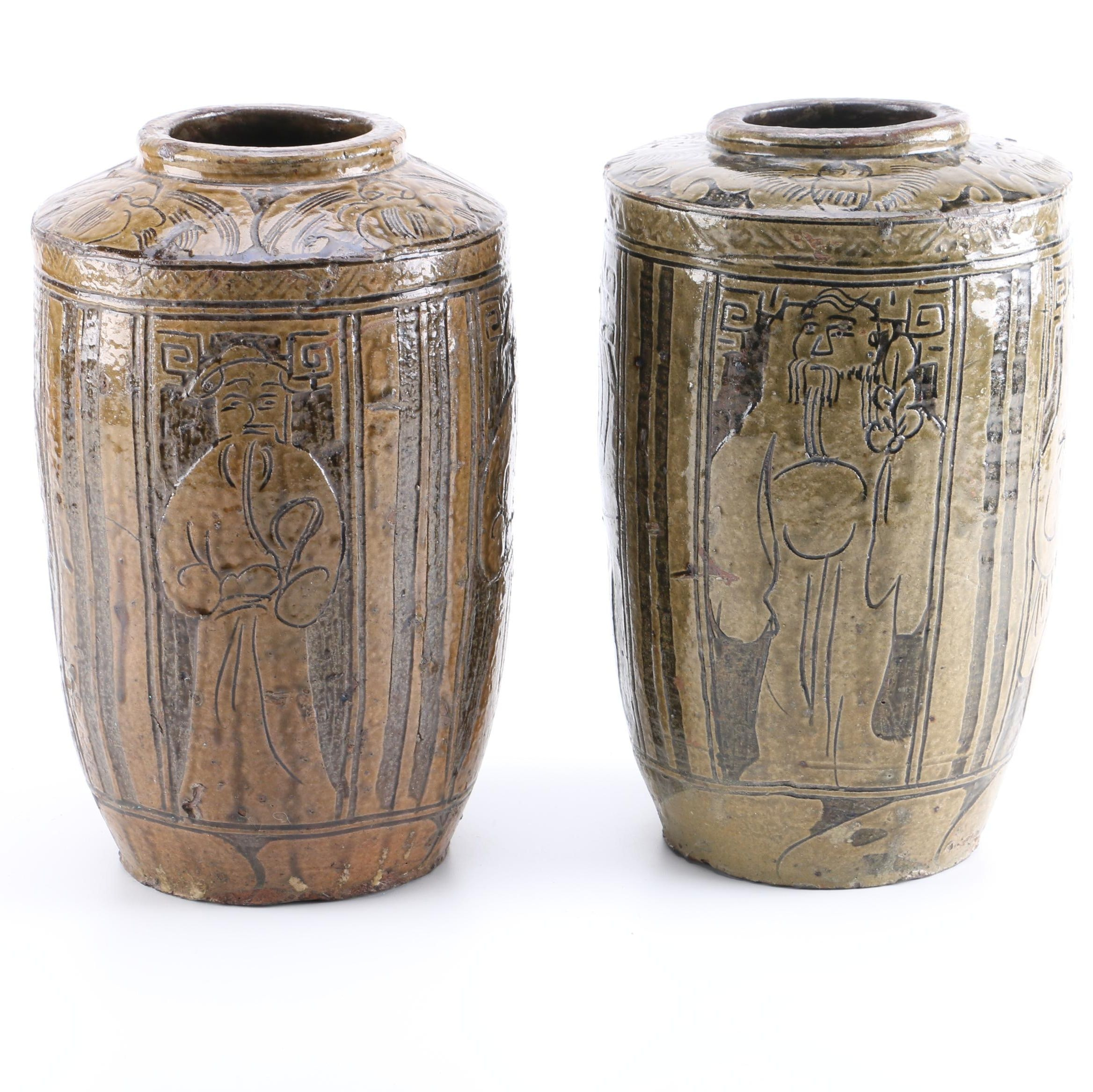 Hand Crafted Chinese Earthenware Ceramic Vases
