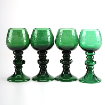 Hand Blown and Etched Green Glass Goblets