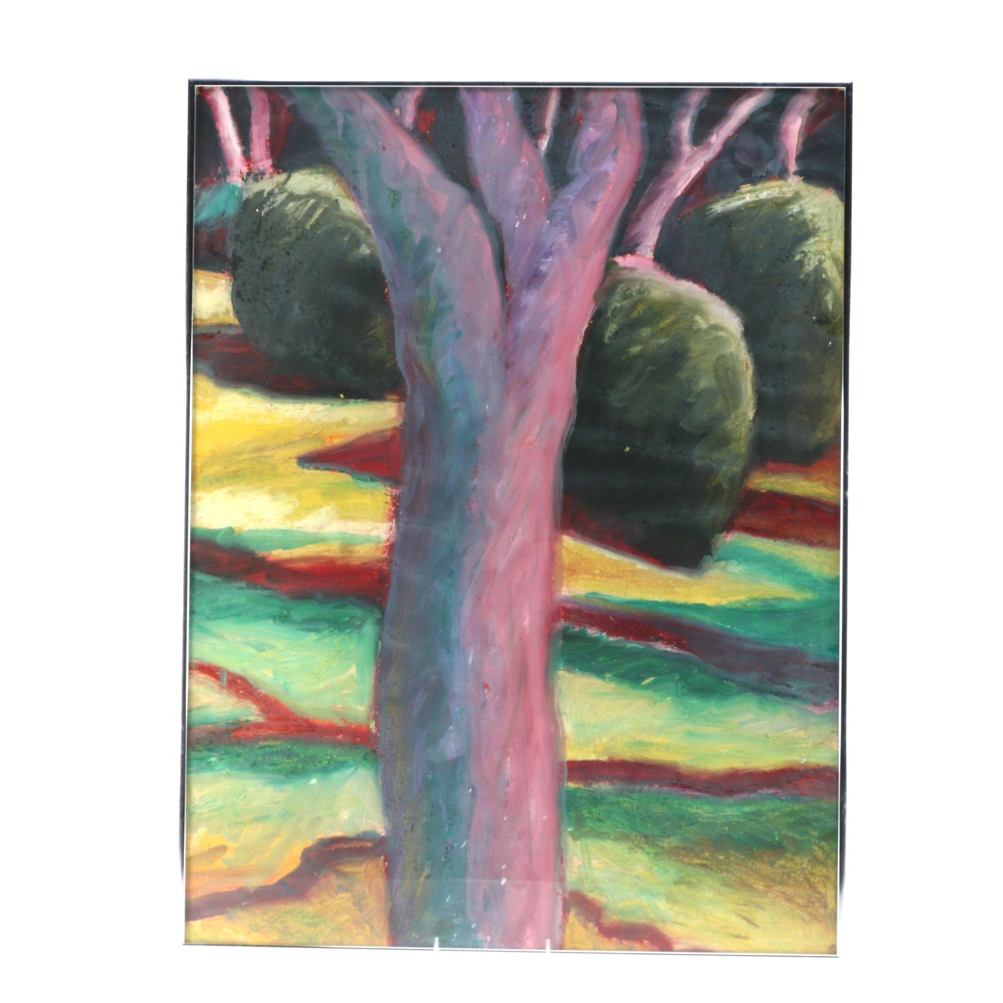 Robert Stagg Oil on Paper of Landscape