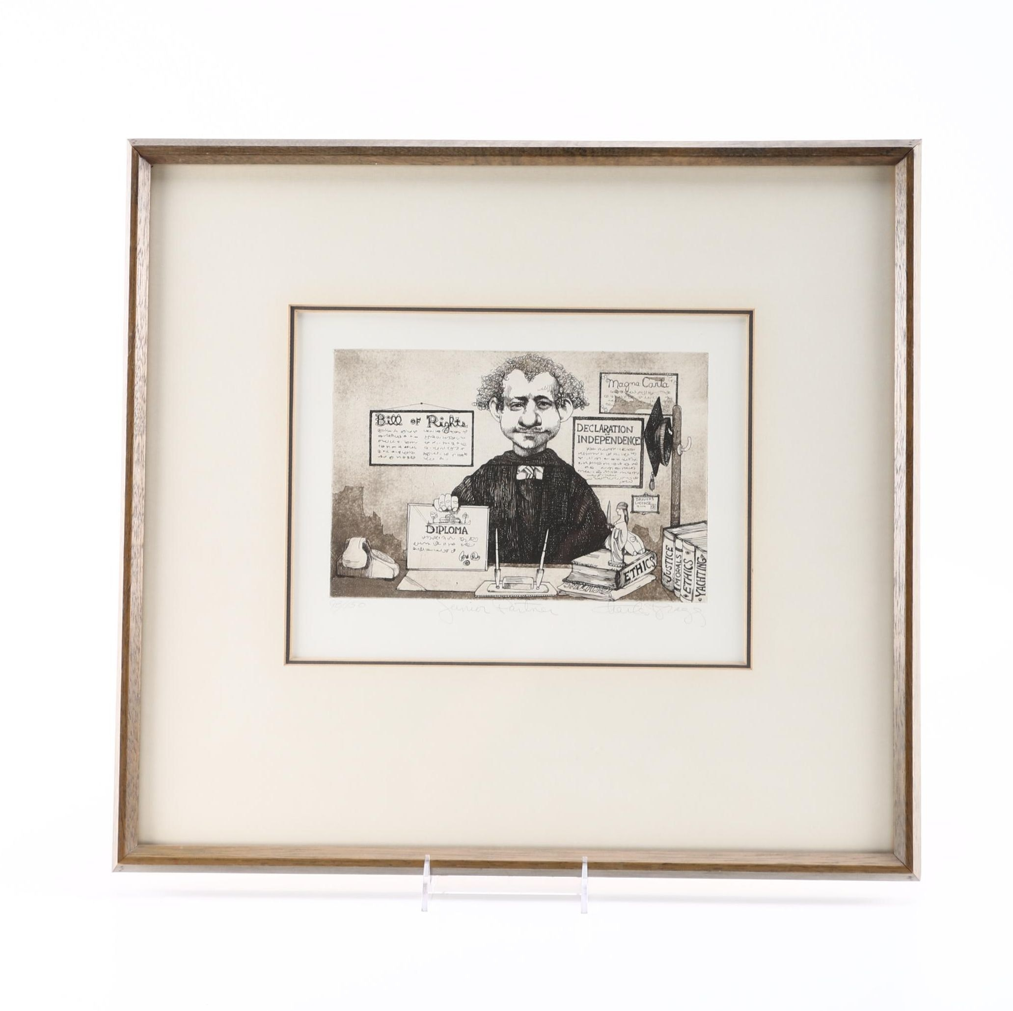 """Charles Bragg Limited Edition Etching on Paper """"Junior Partner"""""""