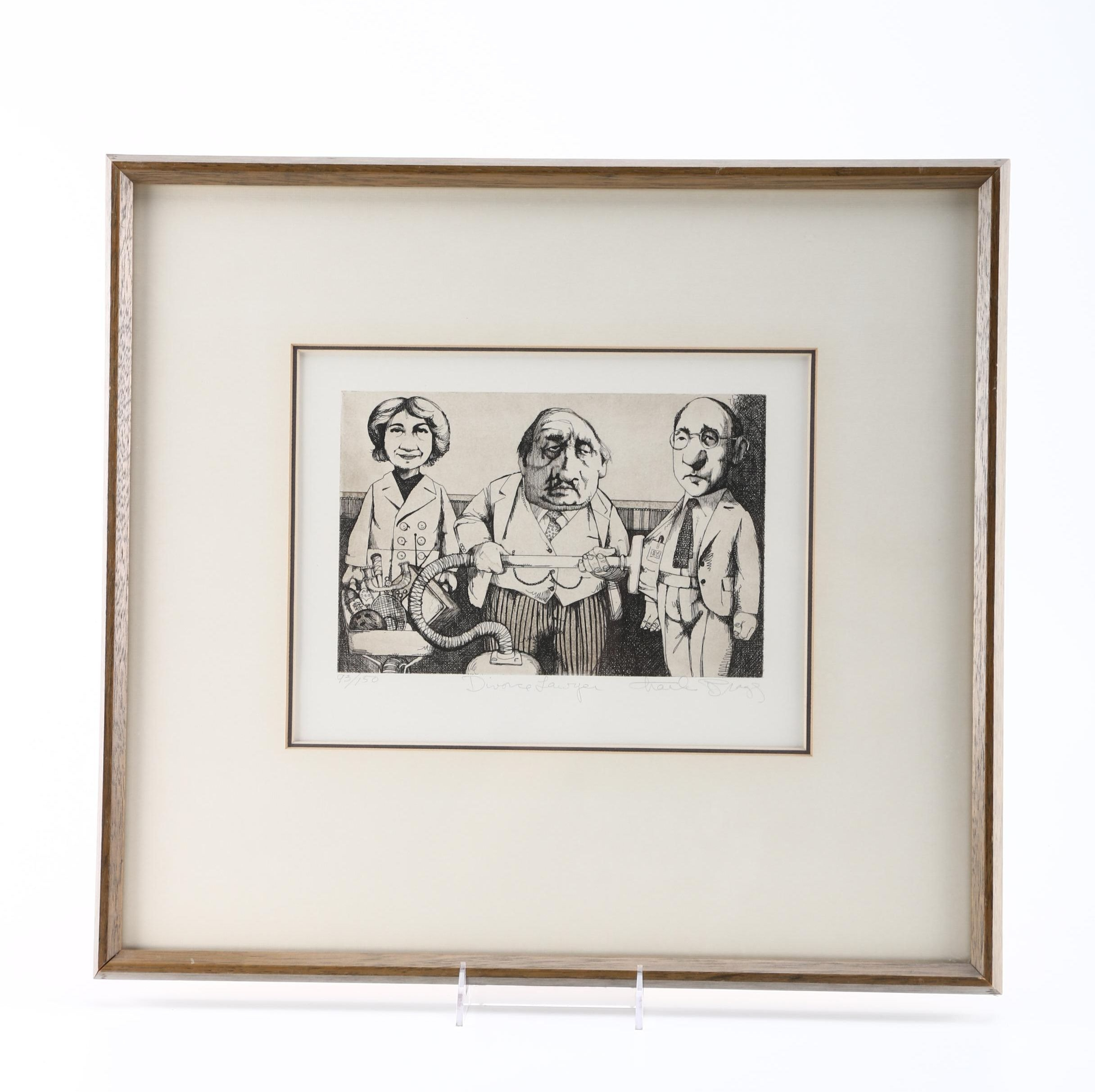 """Charles Bragg Limited Edition Etching on Paper """"Divorce Lawyer"""""""