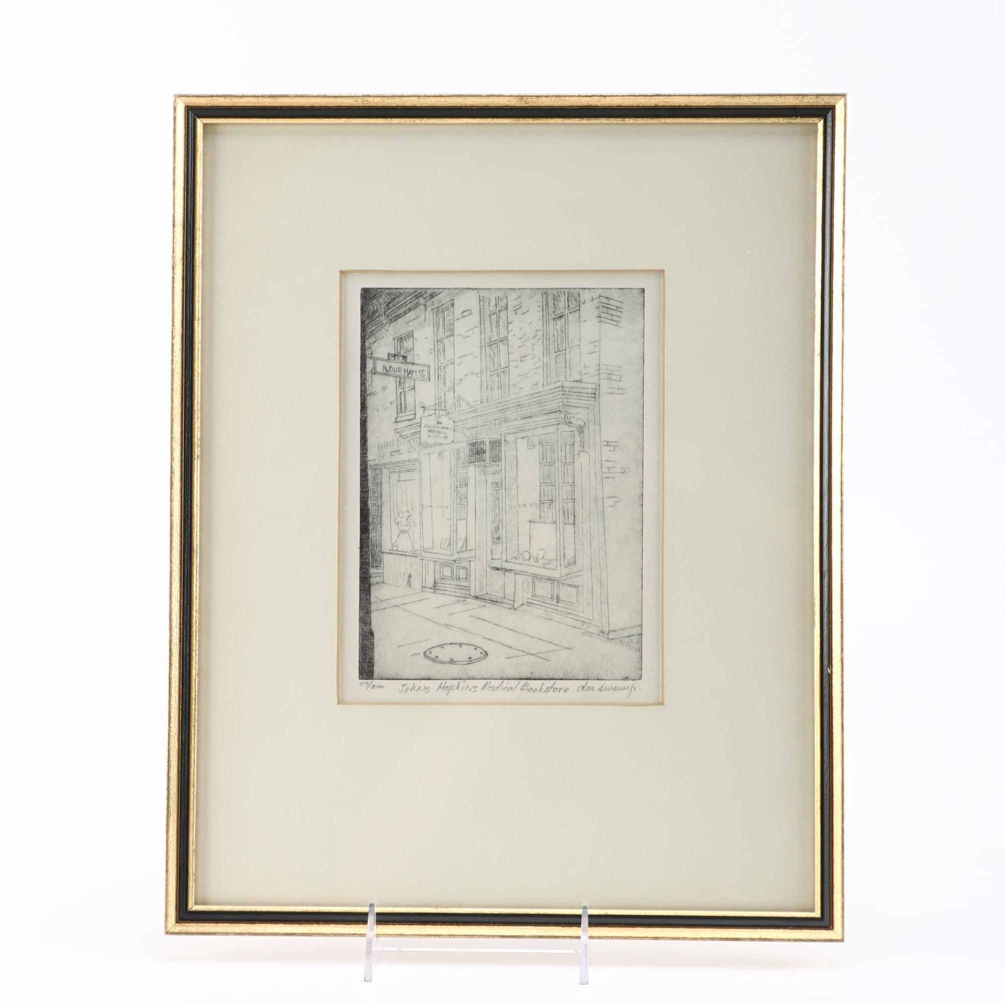 "Don Swann Jr. Limited Edition Etching ""Johns Hopkins Medical Bookstore"""