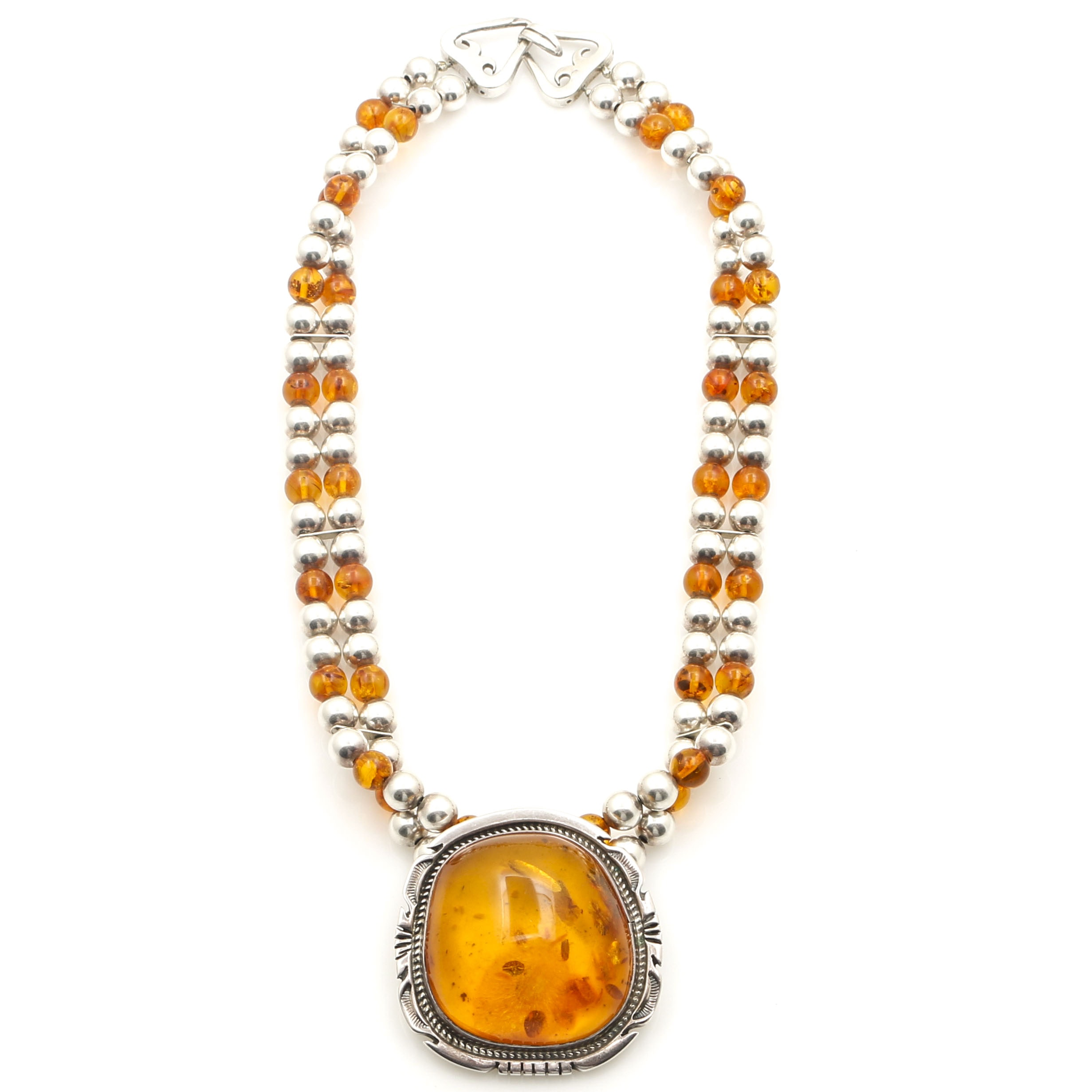 Jon McCray Sterling Silver Beaded Amber Necklace