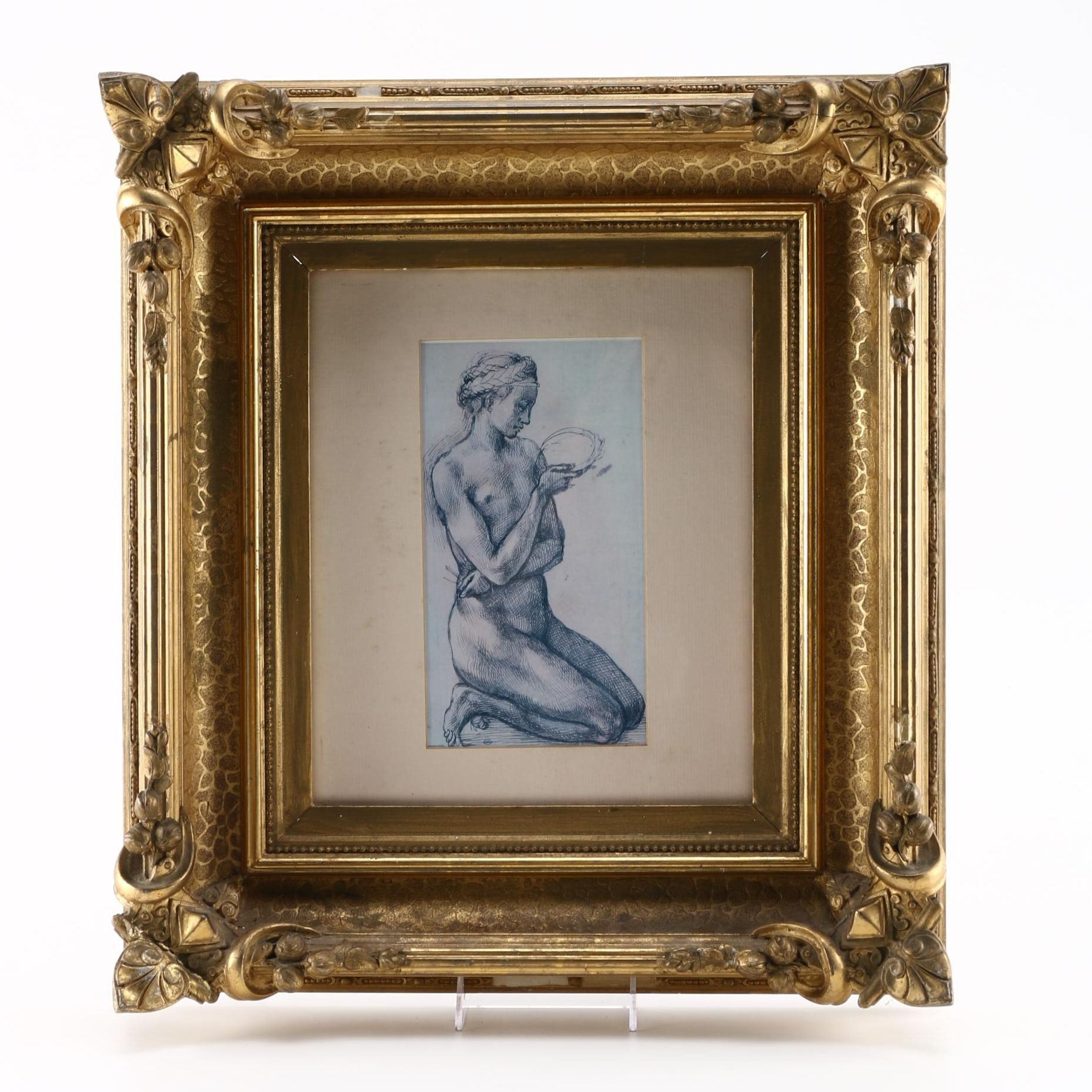 """After Michelangelo Buonarroti Offset Lithograph """"Study of a Kneeling Nude"""""""