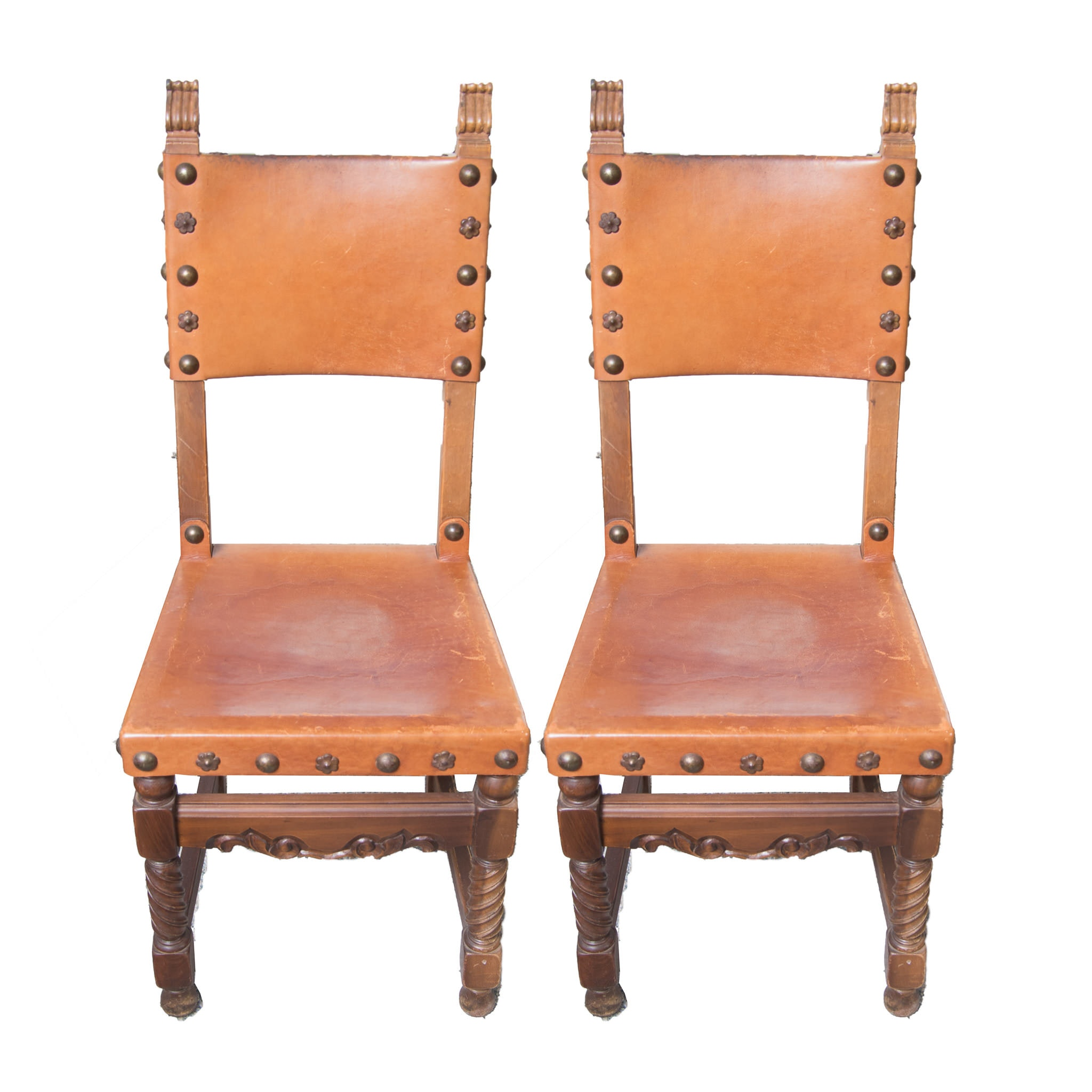 Spanish Colonial Style Leather Side Chairs