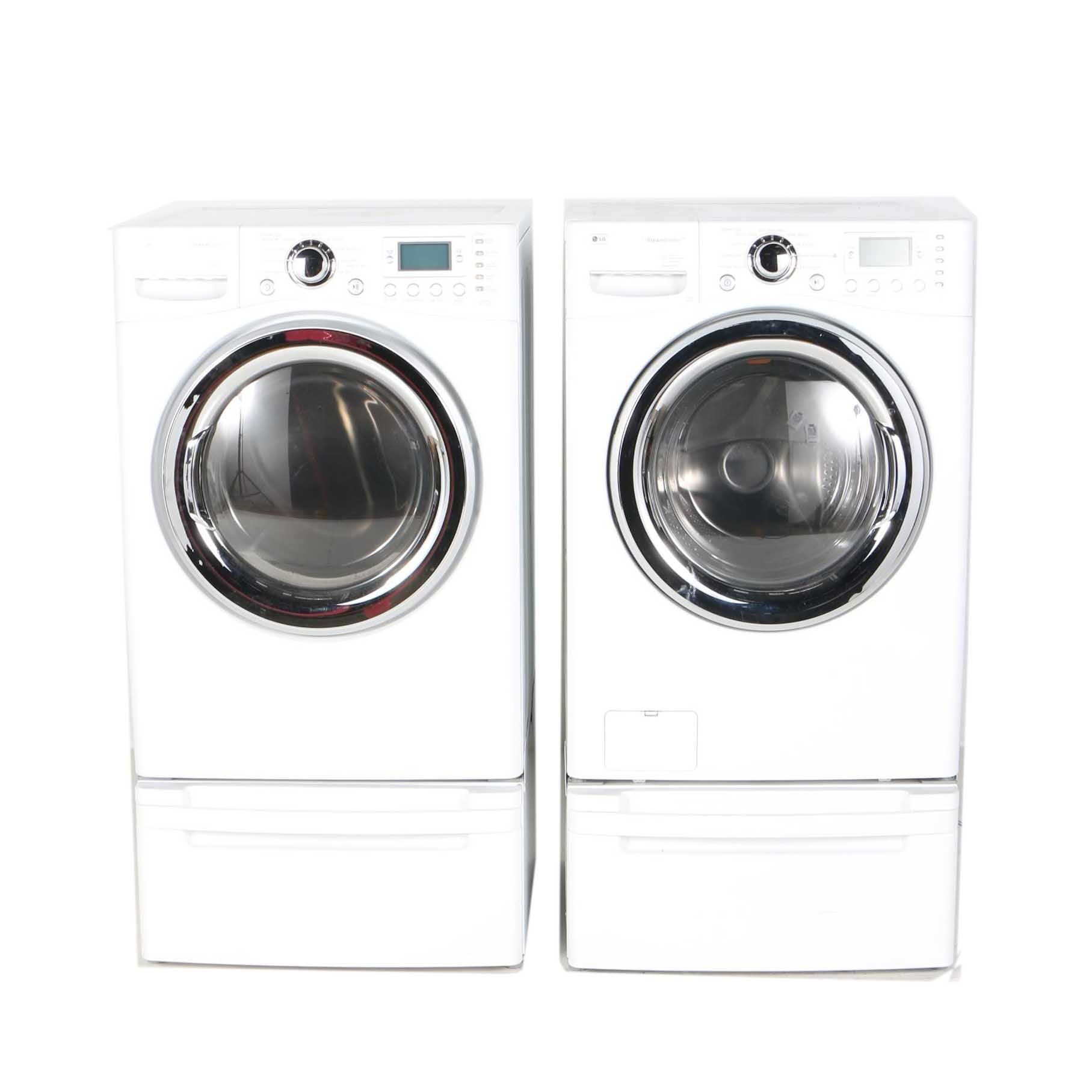 lg he front loading washer and dryer with pedestals