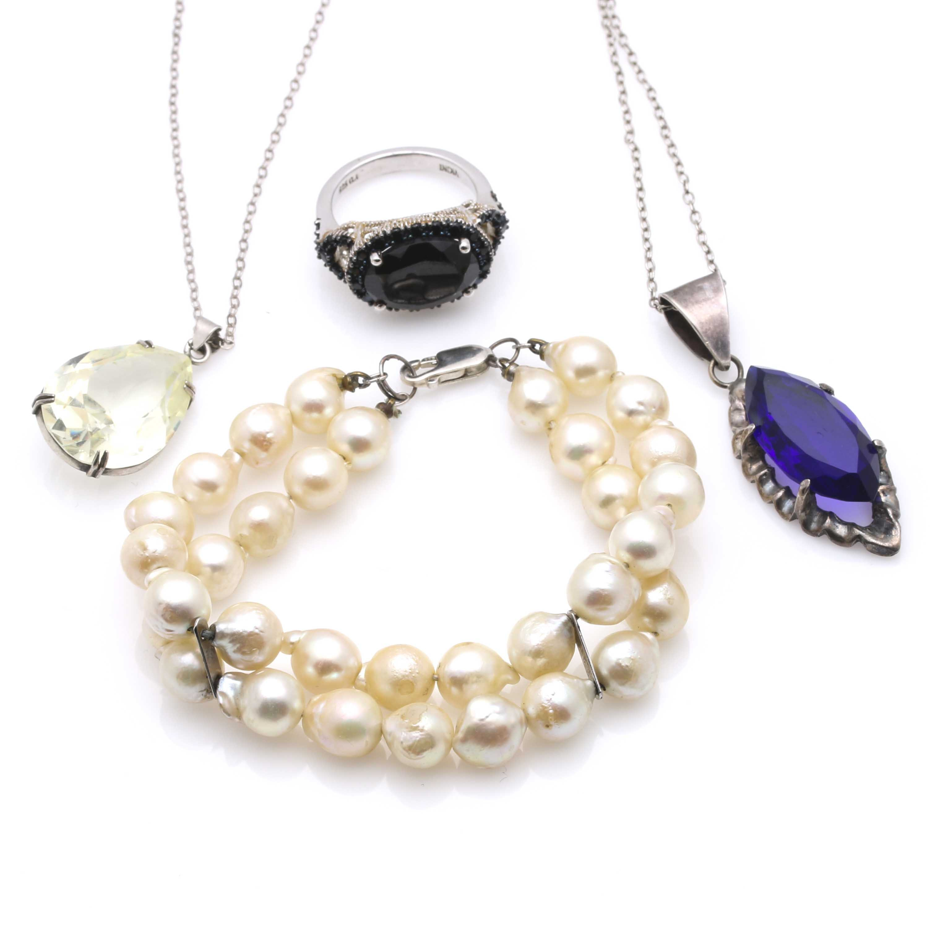 Sterling Silver  Jewelry With Gemstones and Pearls