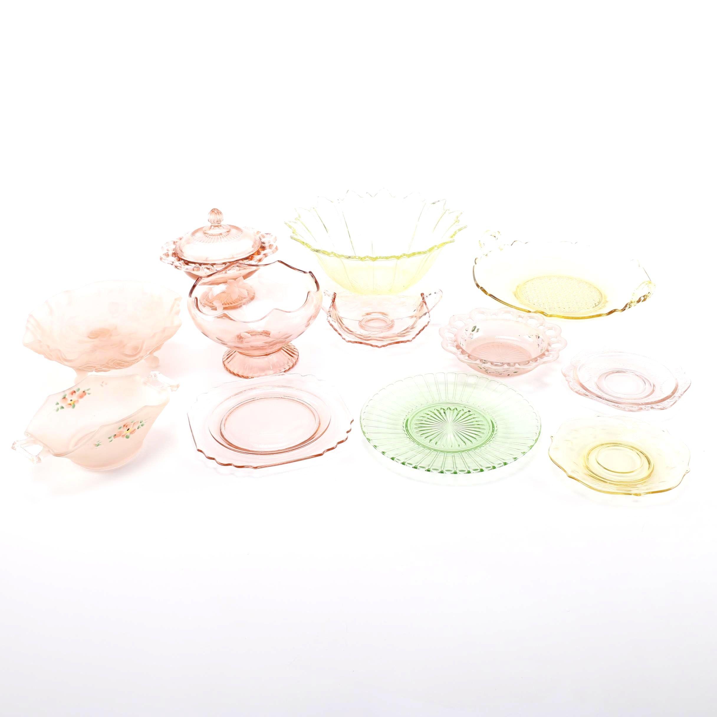 Assortment of Depression Glass Tableware
