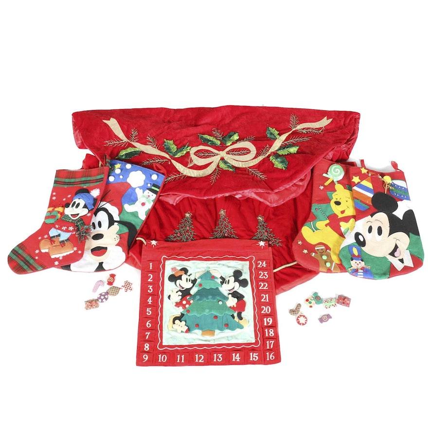 Assortment Of Disney Christmas Stockings With Tree Skirts Ebth