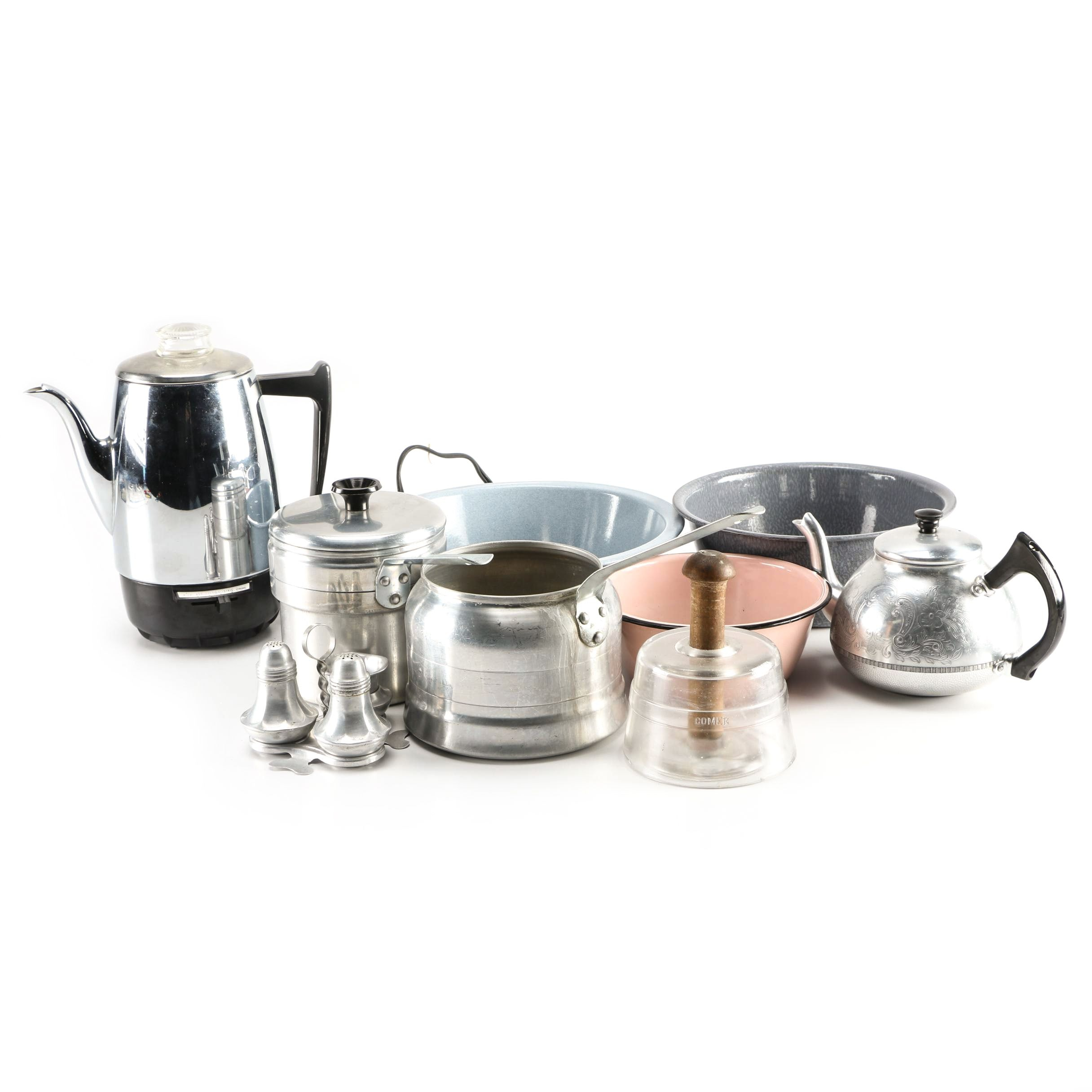 Collection of Kitchen Kettles, Pans and Teapots