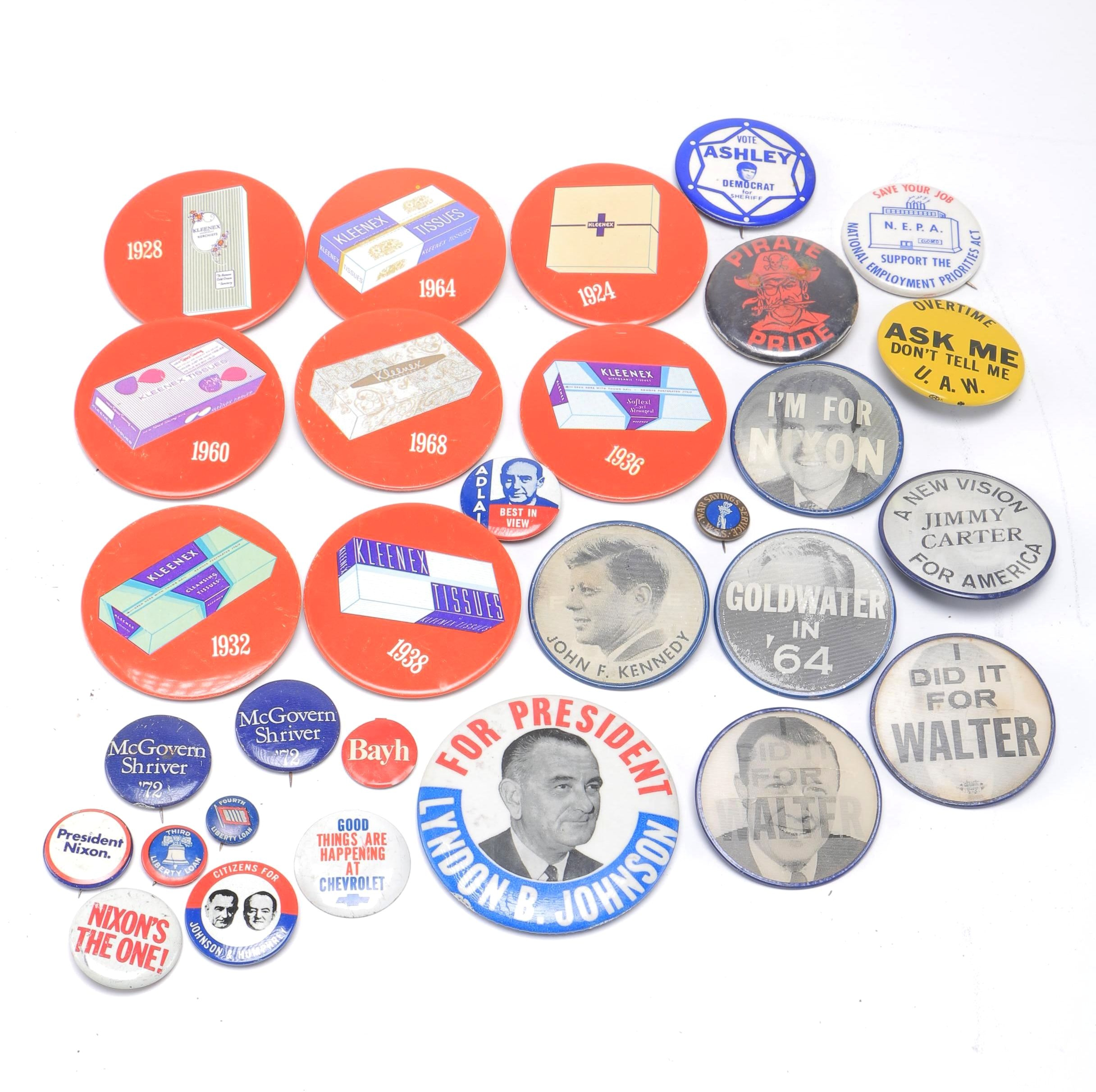 Vintage Nixon, Kennedy, Carter and More Political Pins