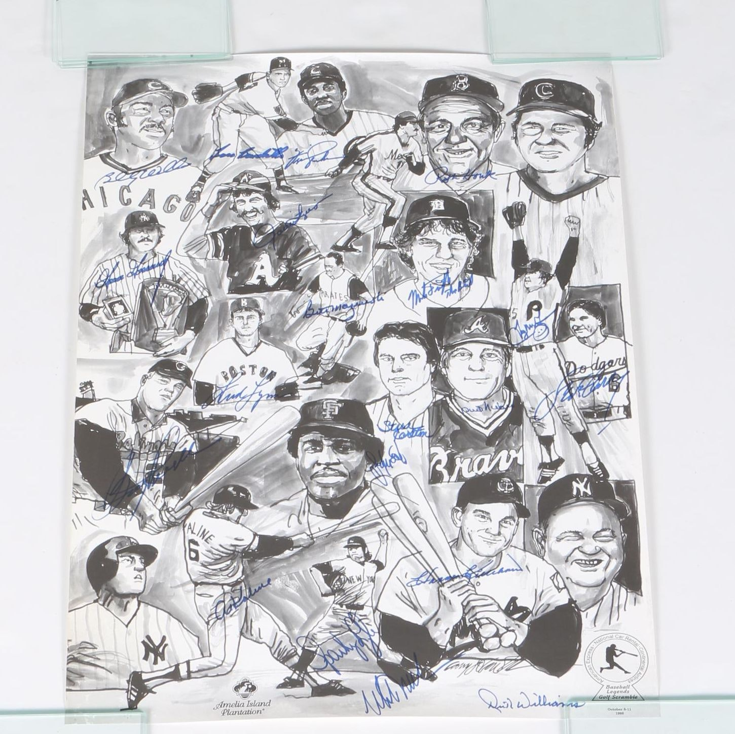 Signed Halftone Print Collage of Baseball Players