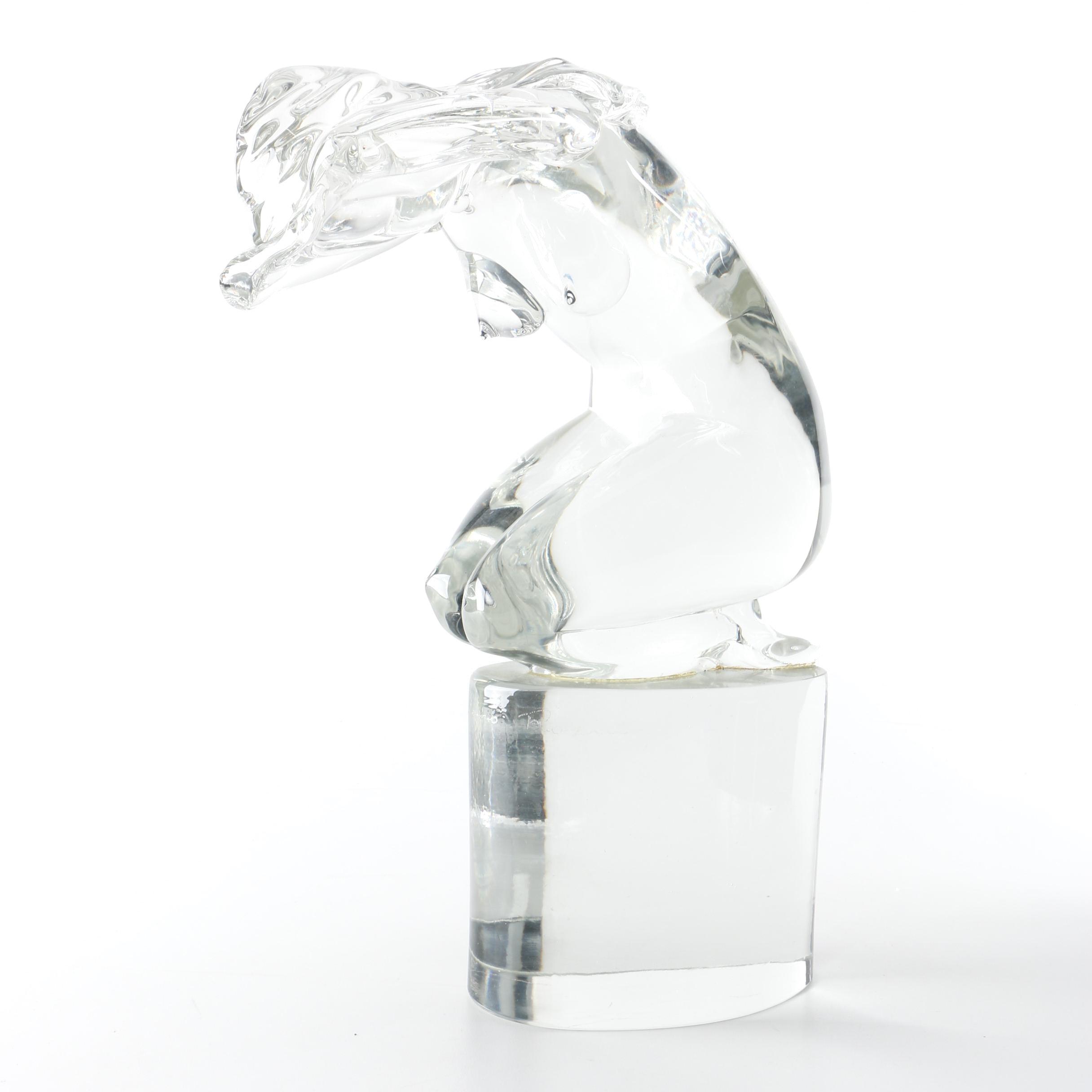 Loredano Rosin Murano Glass Female Nude Sculpture
