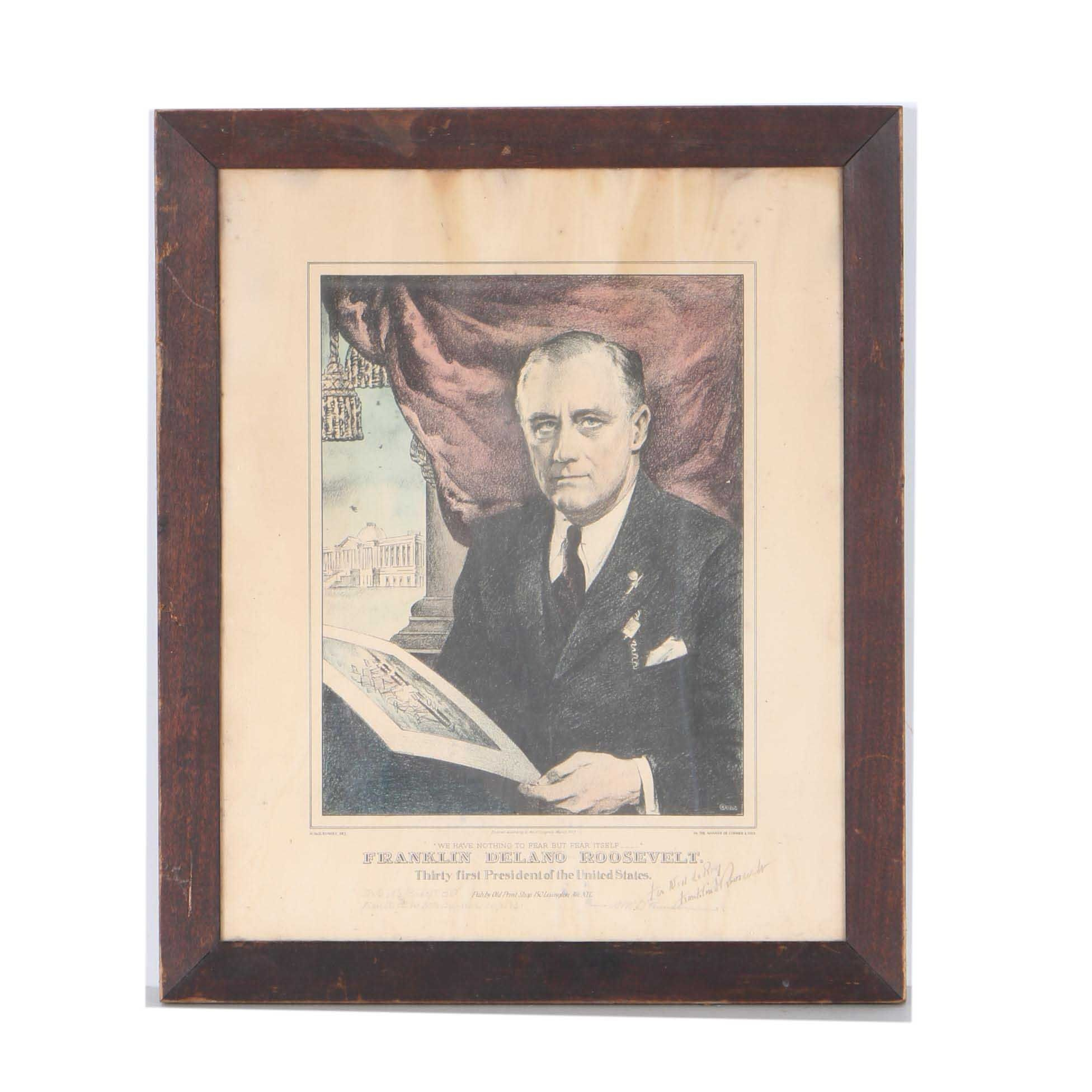 Signed Franklin Roosevelt Offset Lithograph
