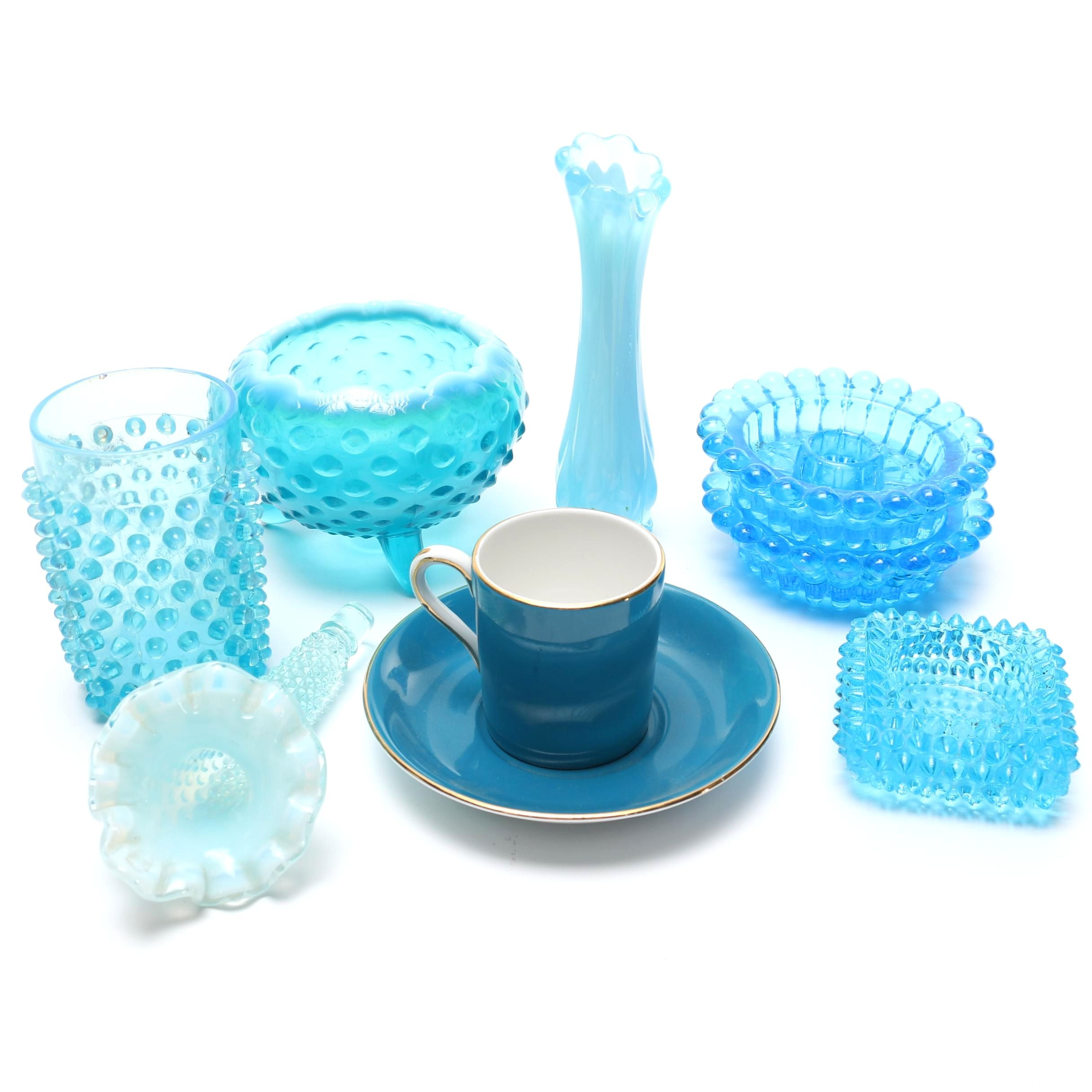 Blue Glassware and Royal Grafton Teacup and Saucer Set