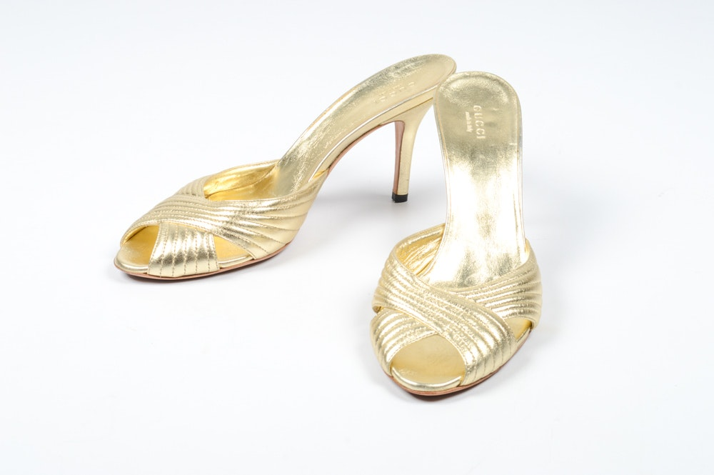 Gucci Metallic Gold Leather Slide Heels