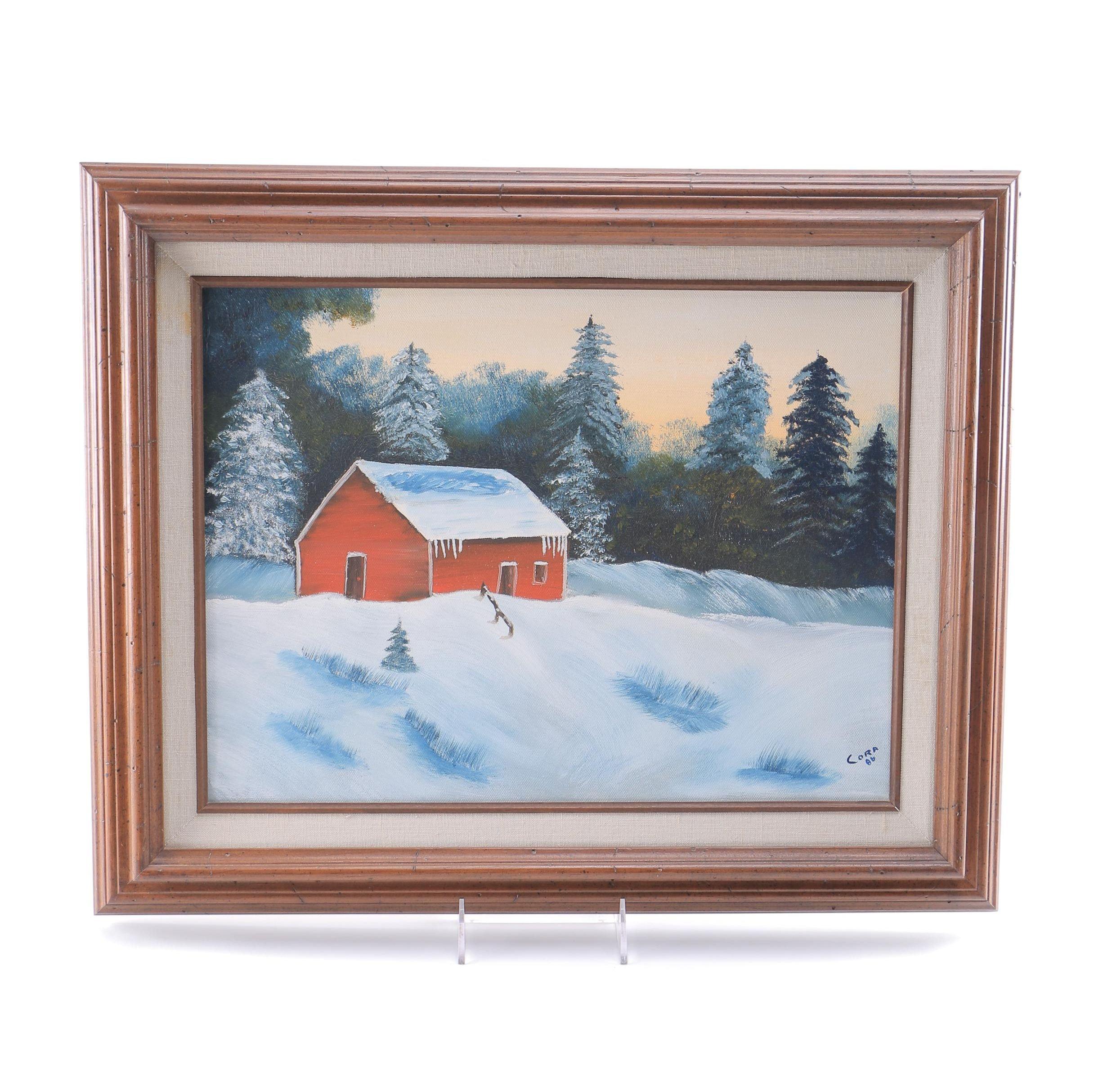 Cora Oil on Canvas of Winter Scene