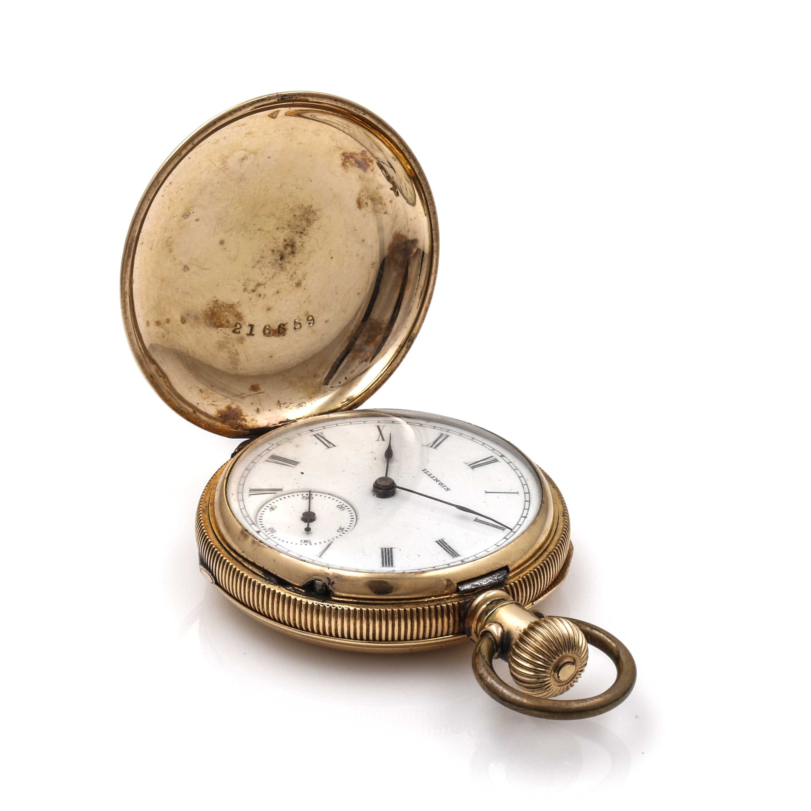 Antique 10K Gold Filled Illinois Pocket Watch
