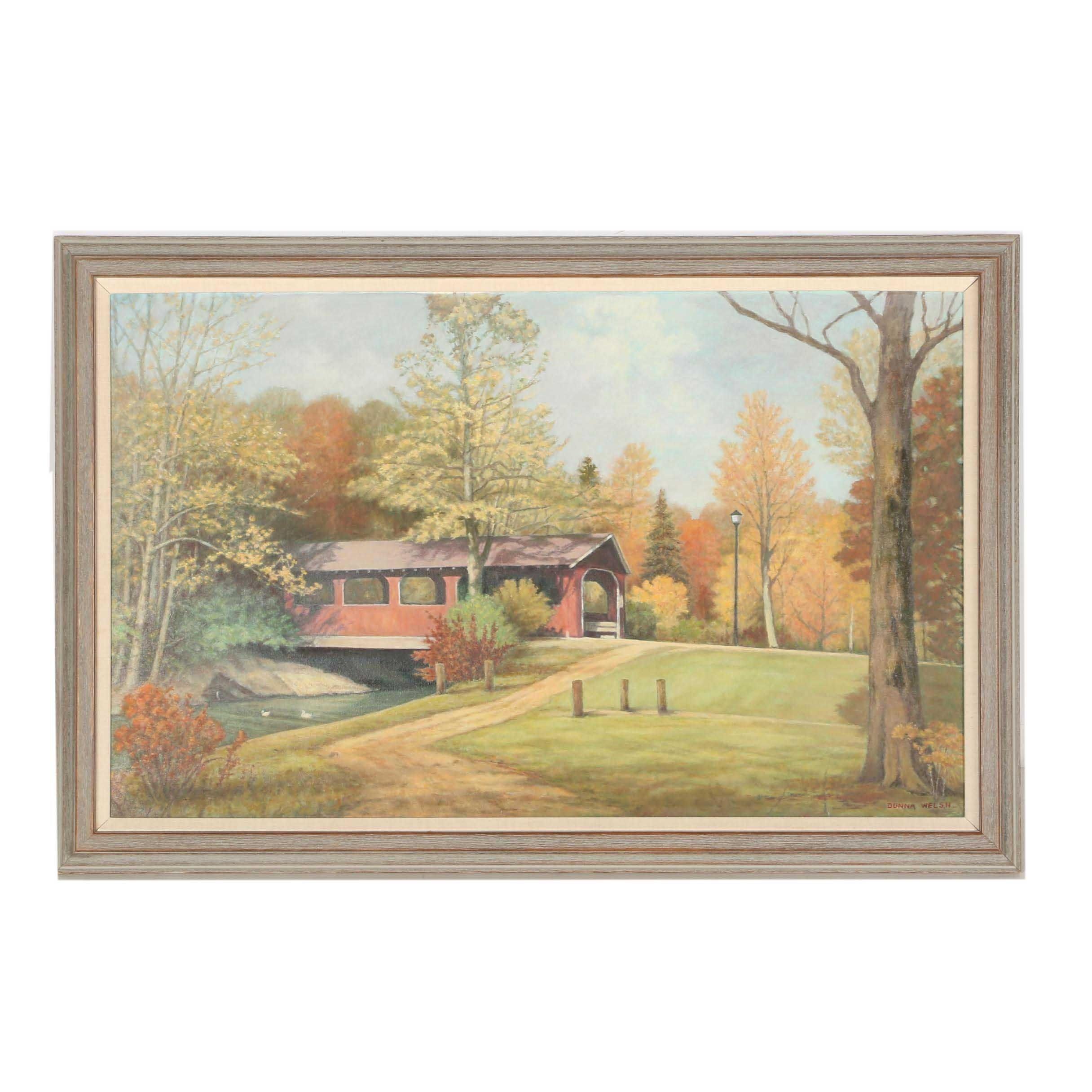 Donna Welsh Oil Painting of Bridge Landscape