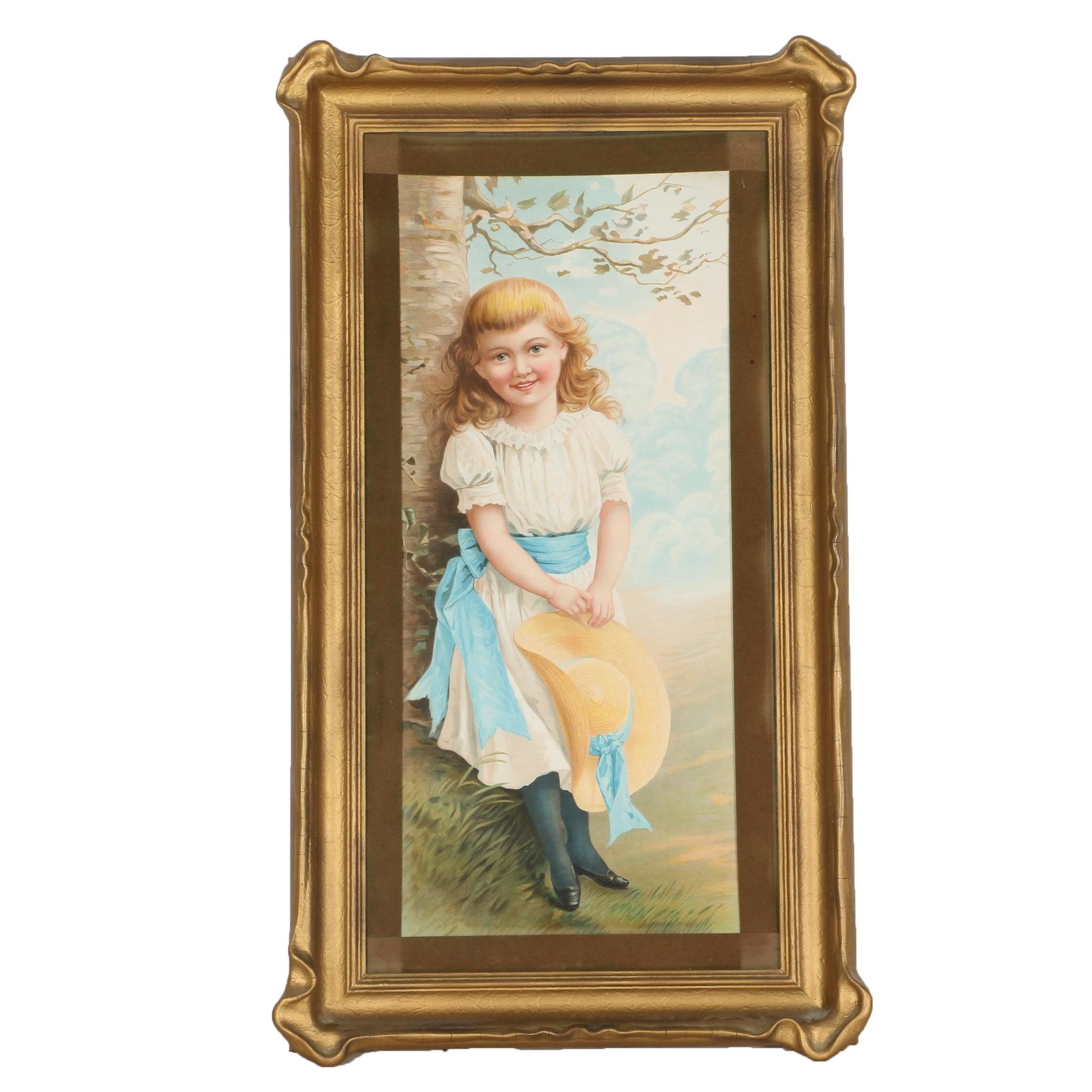 Reproduction Chromolithograph of Young Girl