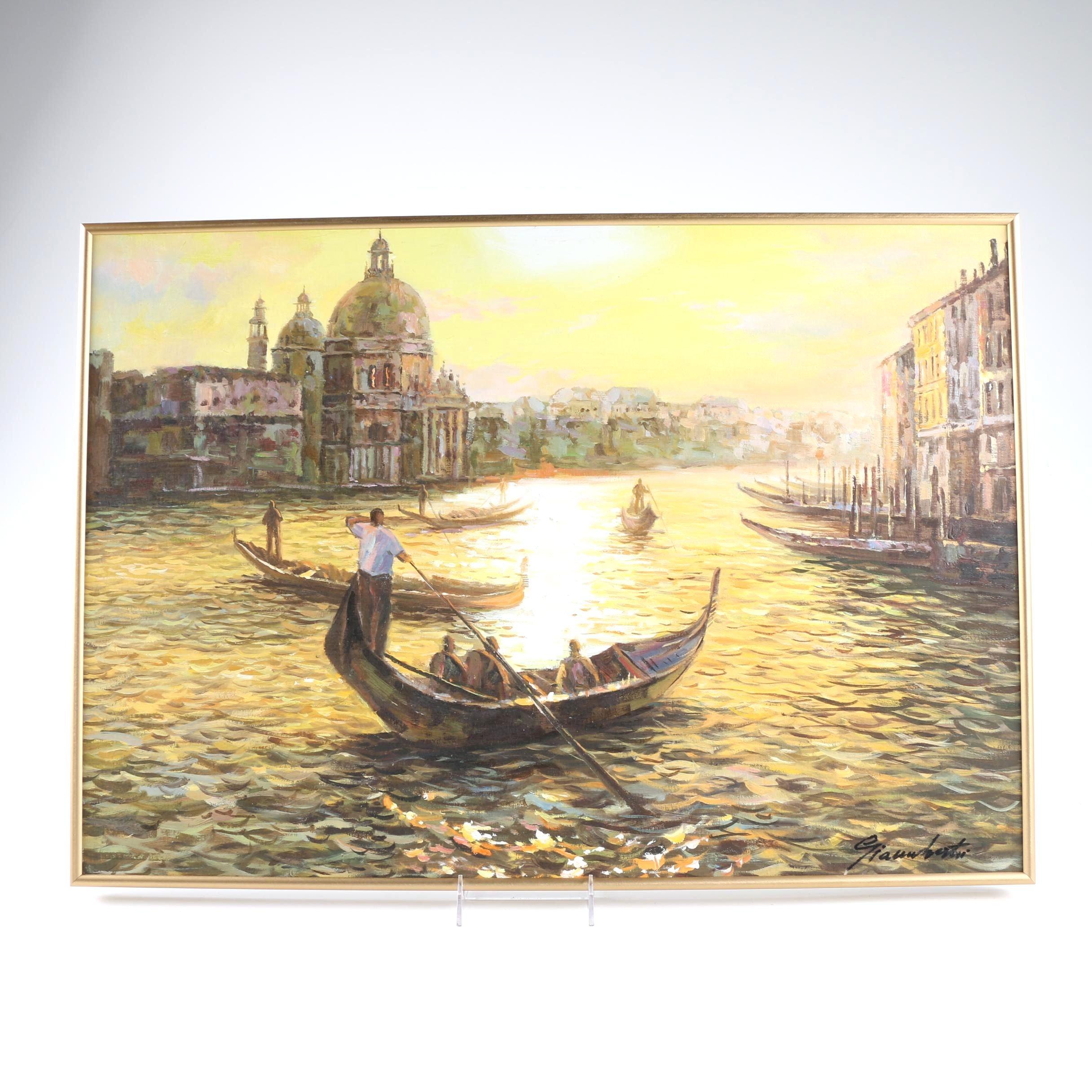 Oil on Canvas of Gondolas in Venice
