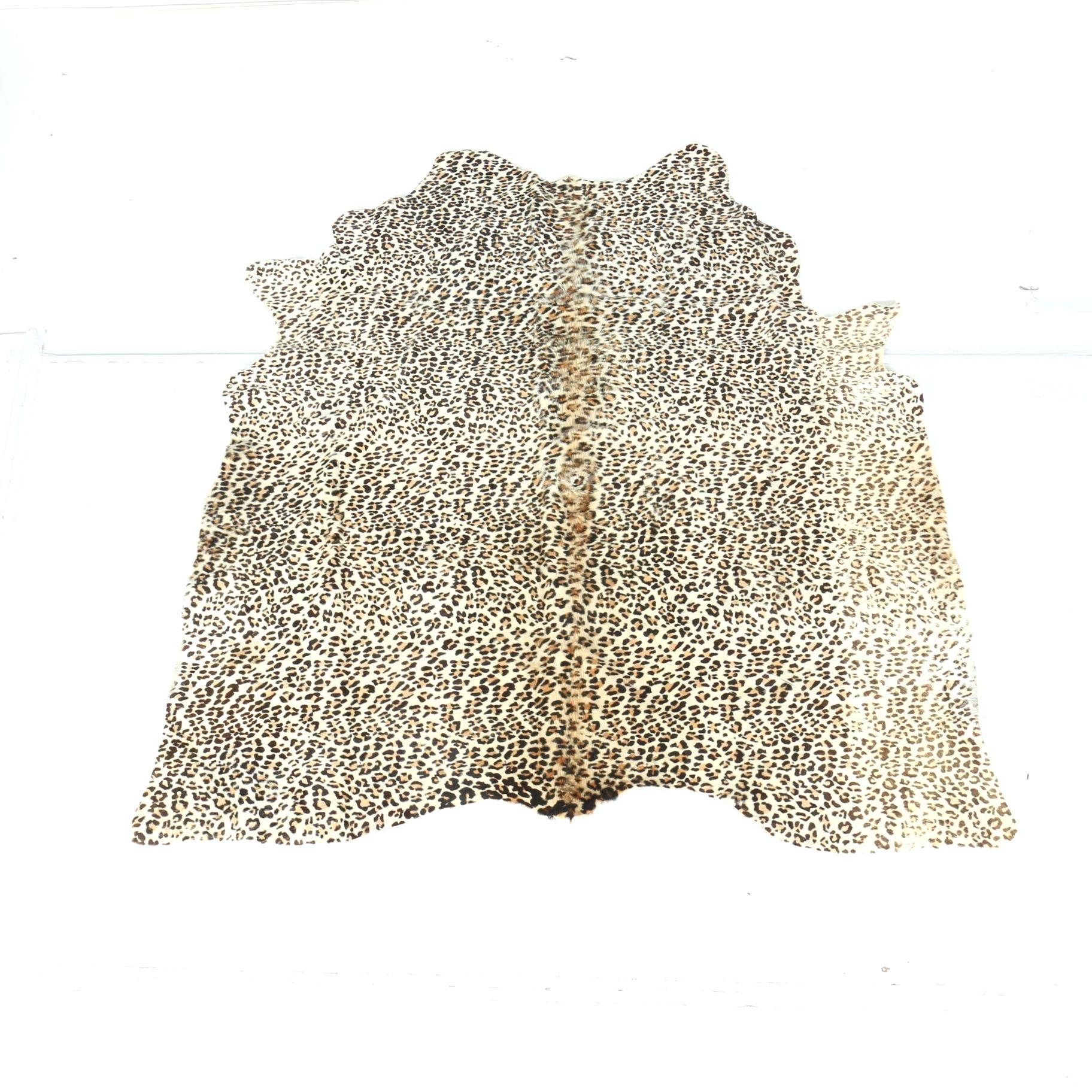Leopard Print Cowhide Area Rug