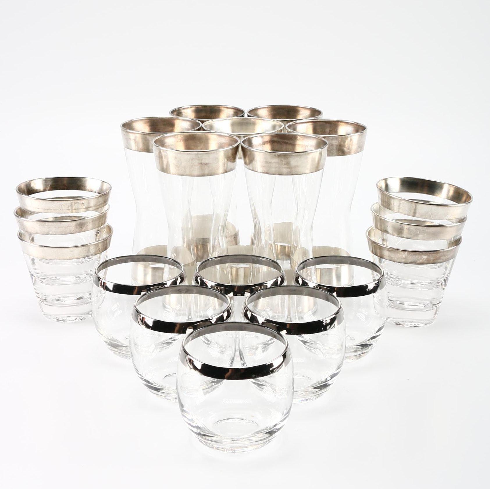 Metal Rimmed Cocktail Glass Set