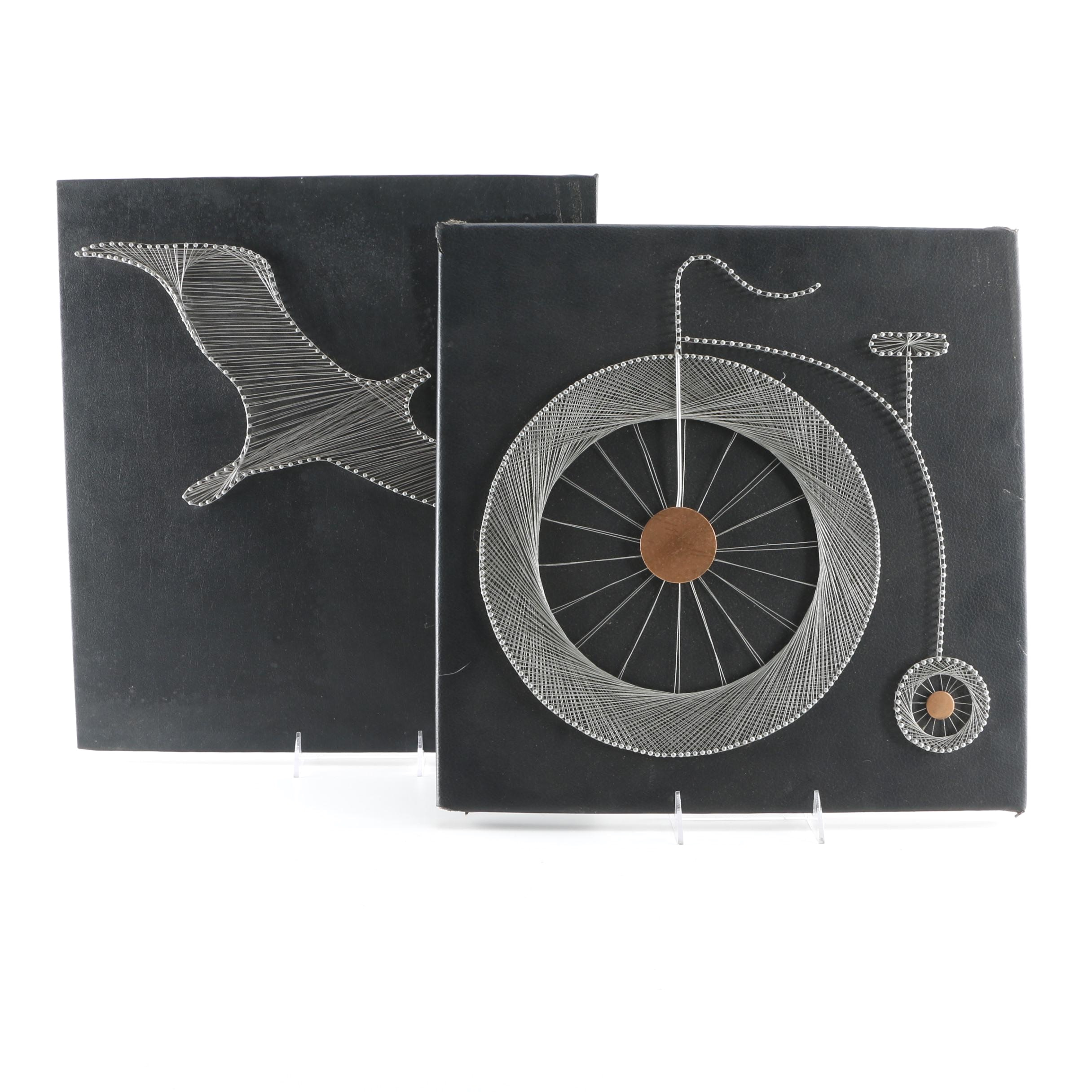 Wire on Leather Canvas of Seagull and Penny-Farthing Bicycle