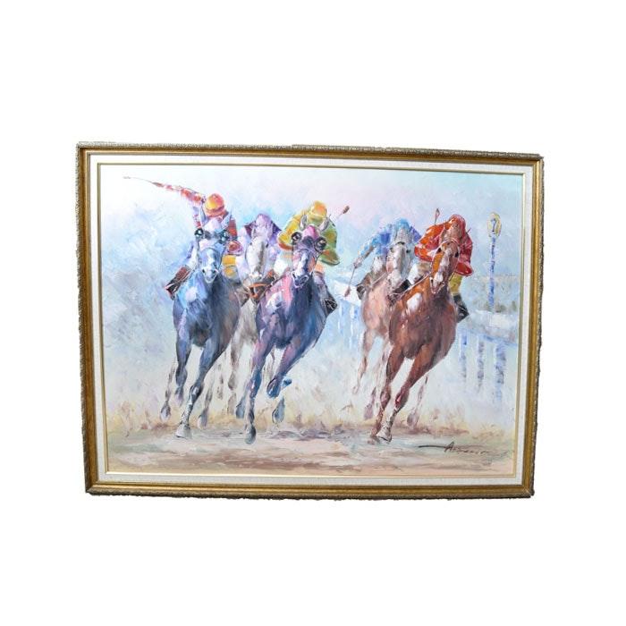 Original Anthony Veccio Equestrian Painting