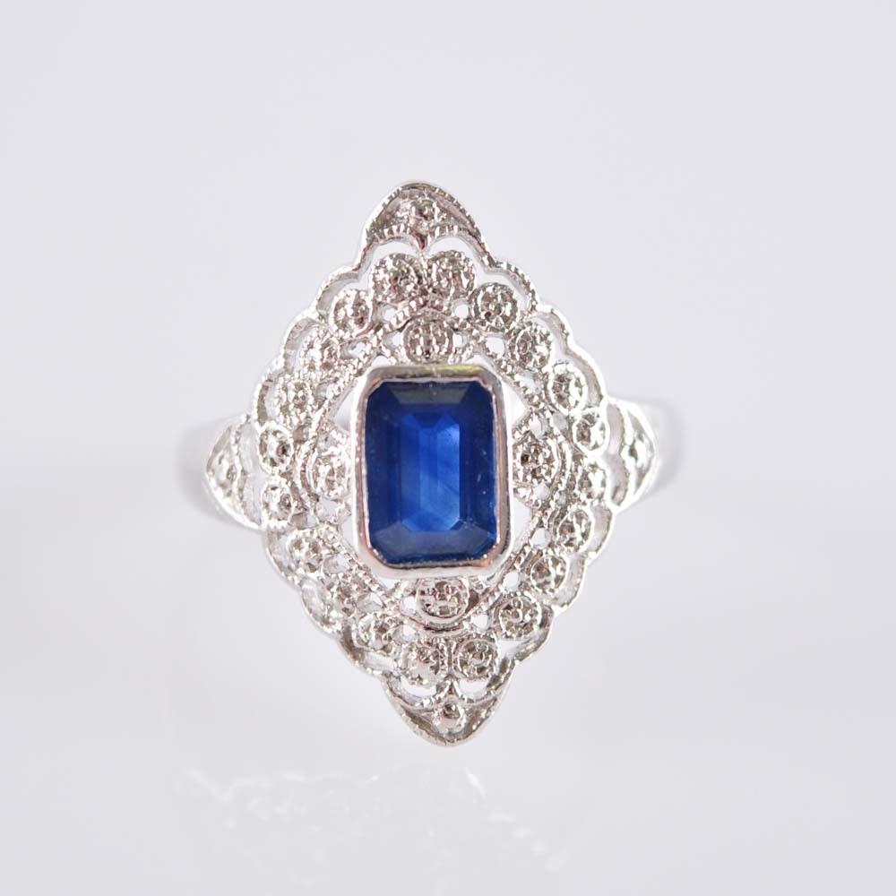 Platinum and Sapphire Belle Epoque Filigree Ring