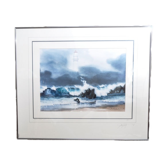 "James Konzen Offset Lithograph ""Drama At Pigeon Point"""