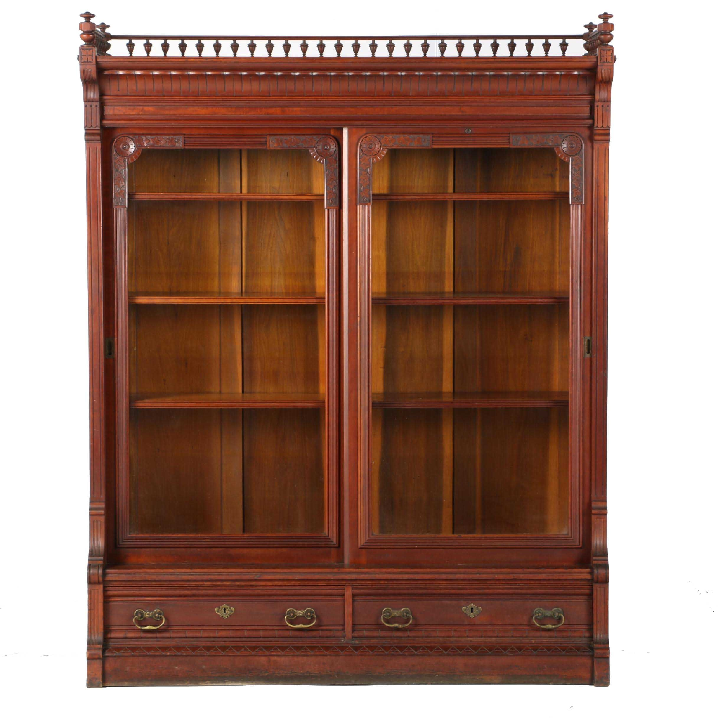 Large Cherry Victorian Glass Front Bookcase