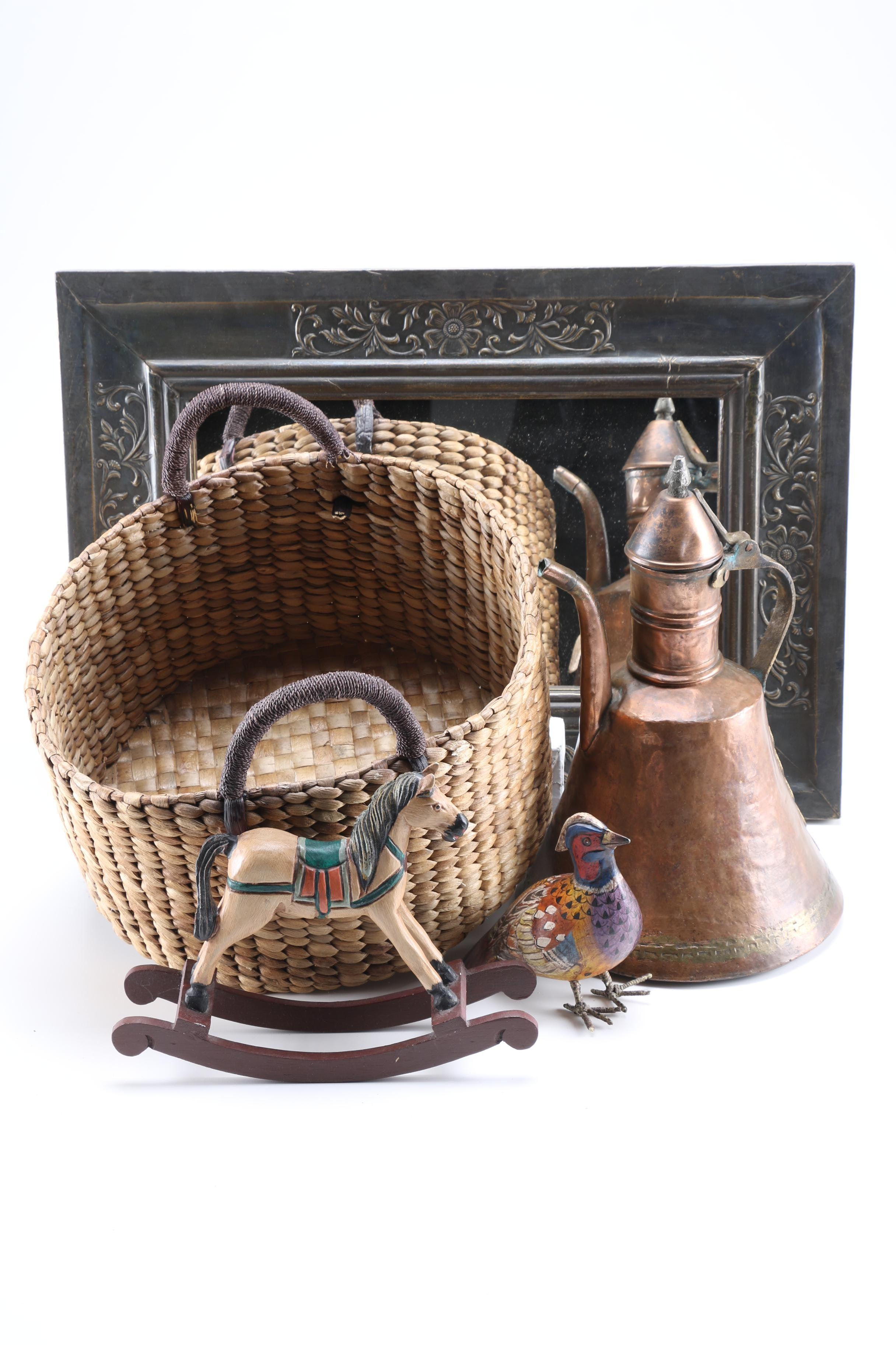Turkish Copper Coffee Pot and Assorted Decor