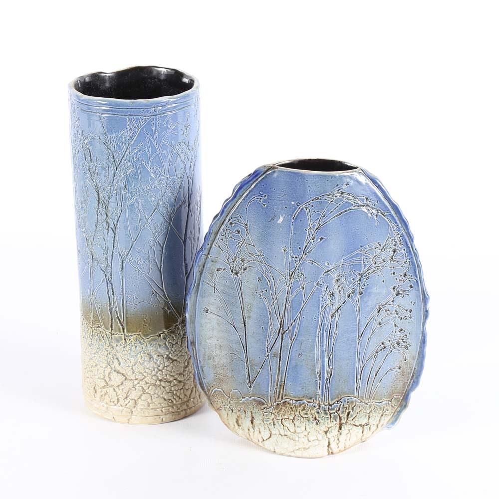 Pair of Tenmoku Pottery Vases