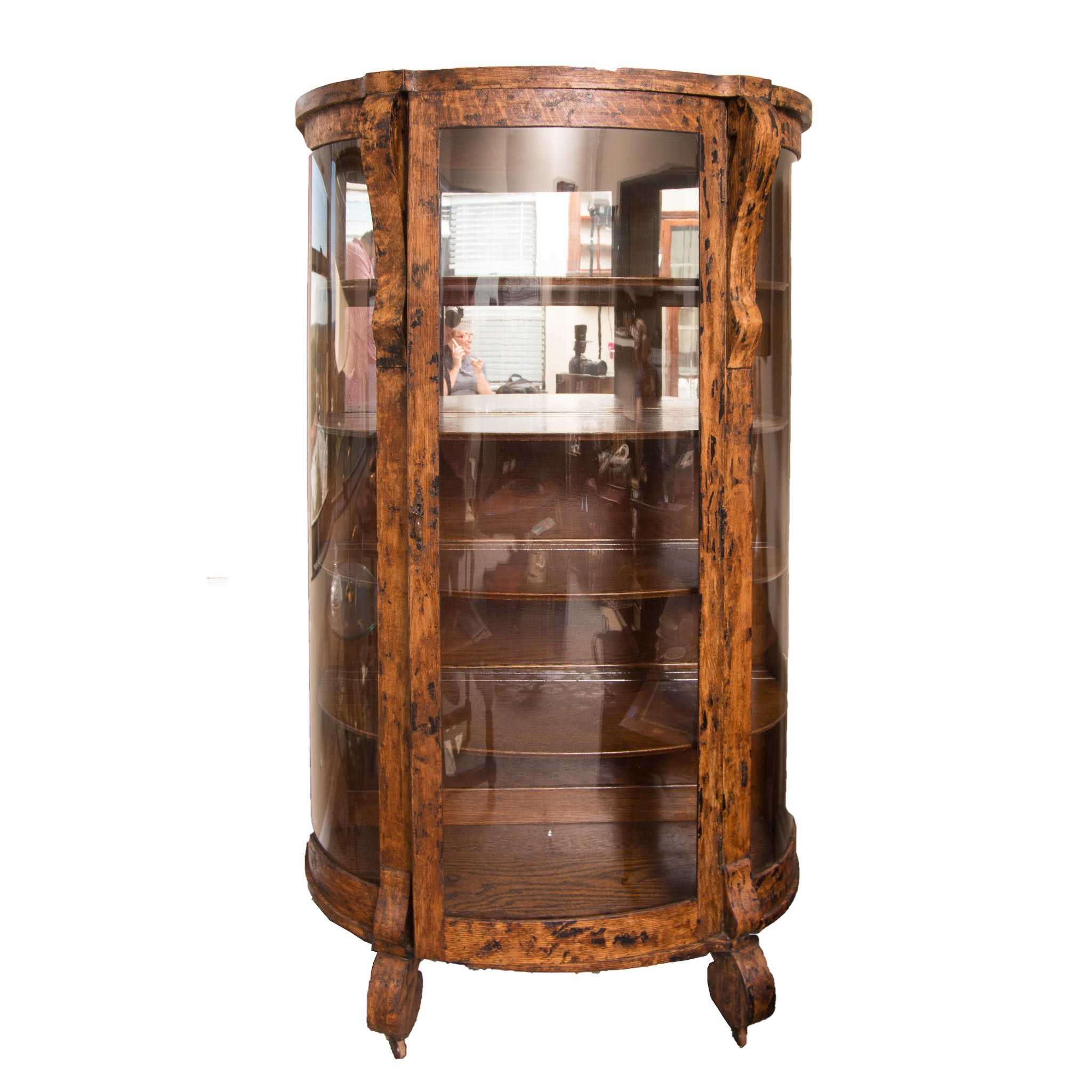Circa 1900 Oak Bowfront Display Cabinet