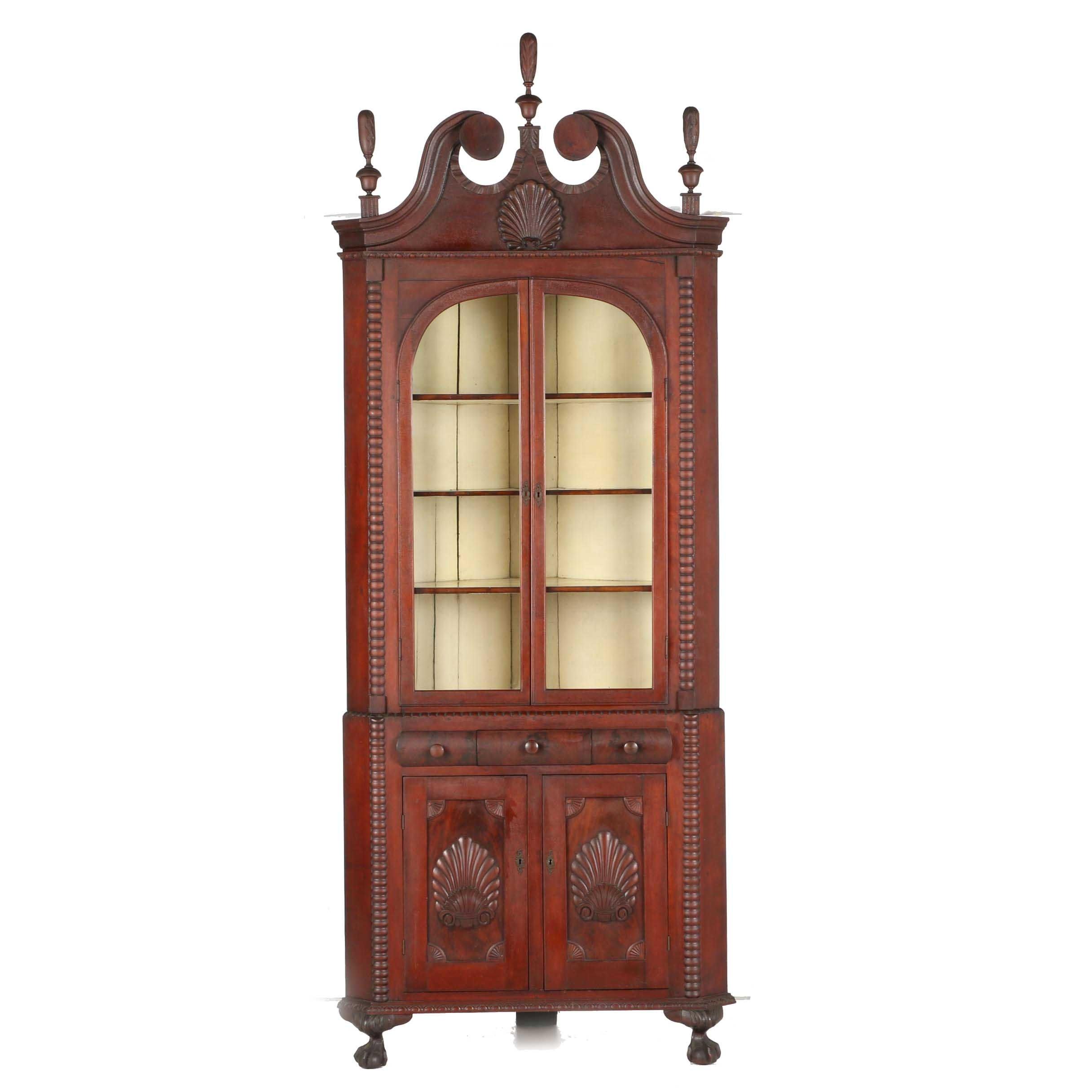 19th Century Mahogany Two Piece Corner Cupboard