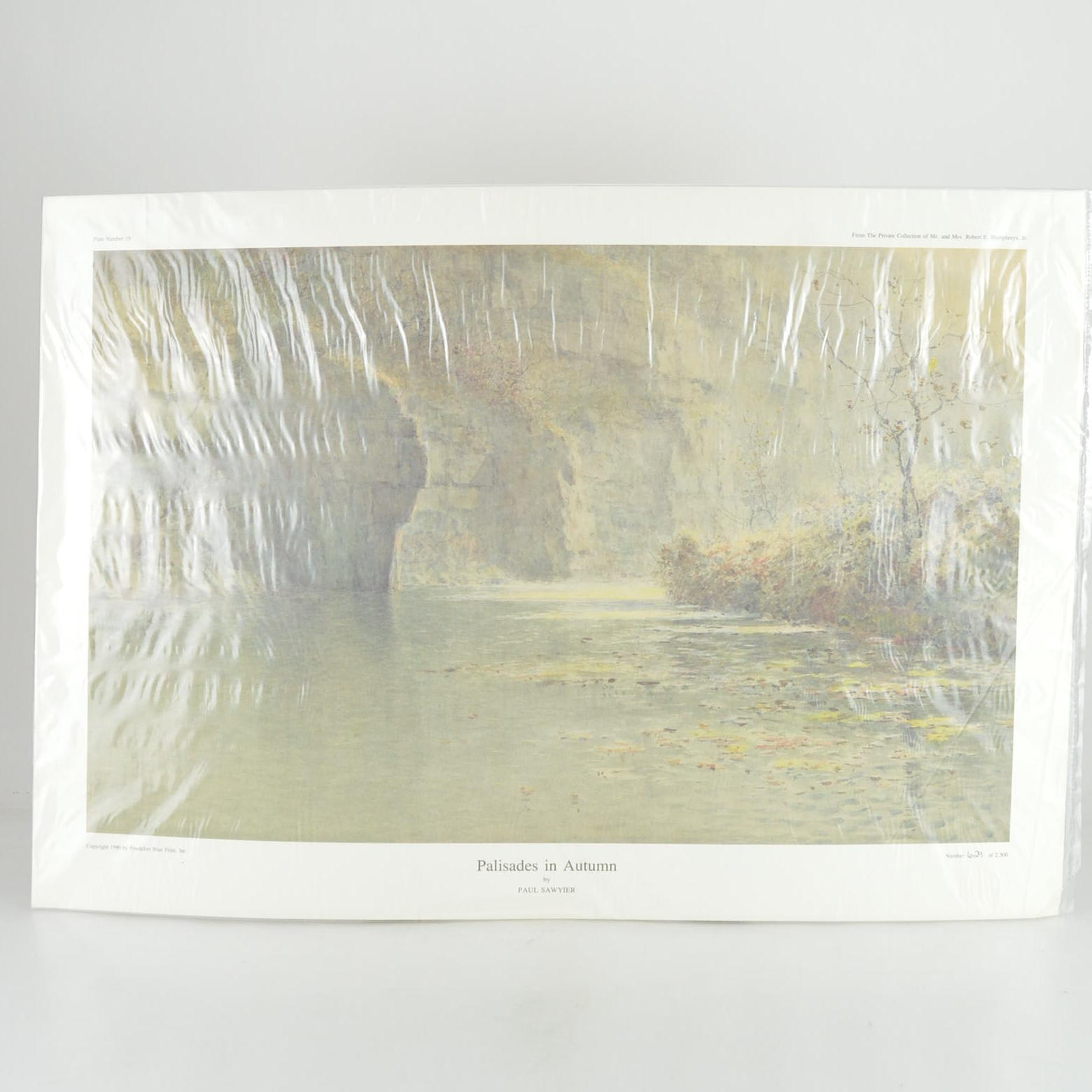 "Paul Sawyier Limited Edition Offset Lithograph ""Palisades in Autumn"""